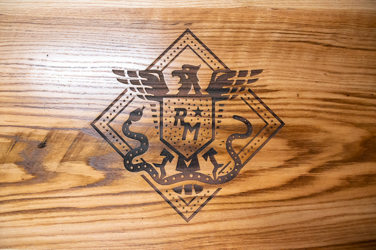 A neat etched design in one of the tables / Image: Phil Armstrong, Cincinnati Refined // Published: 10.21.20