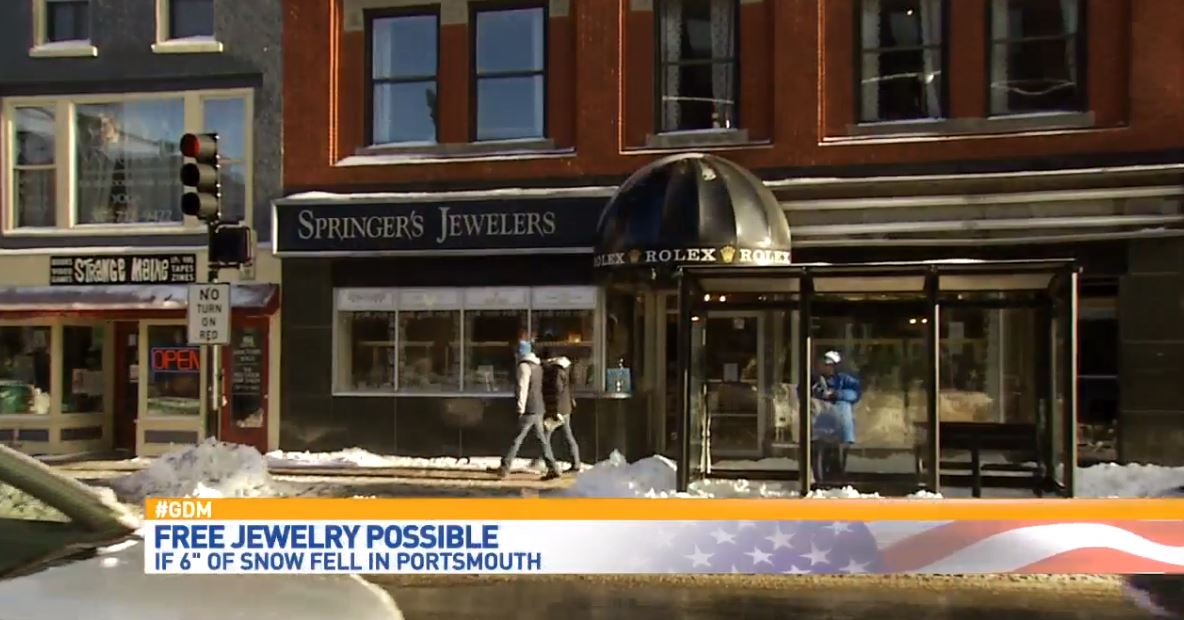 Springer's Jewelers in New Hampshire and Maine promised qualifying customers more than $900,000 in free jewelry if it snowed more than 6 inches on Christmas in Portsmouth. (WGME)<p></p>