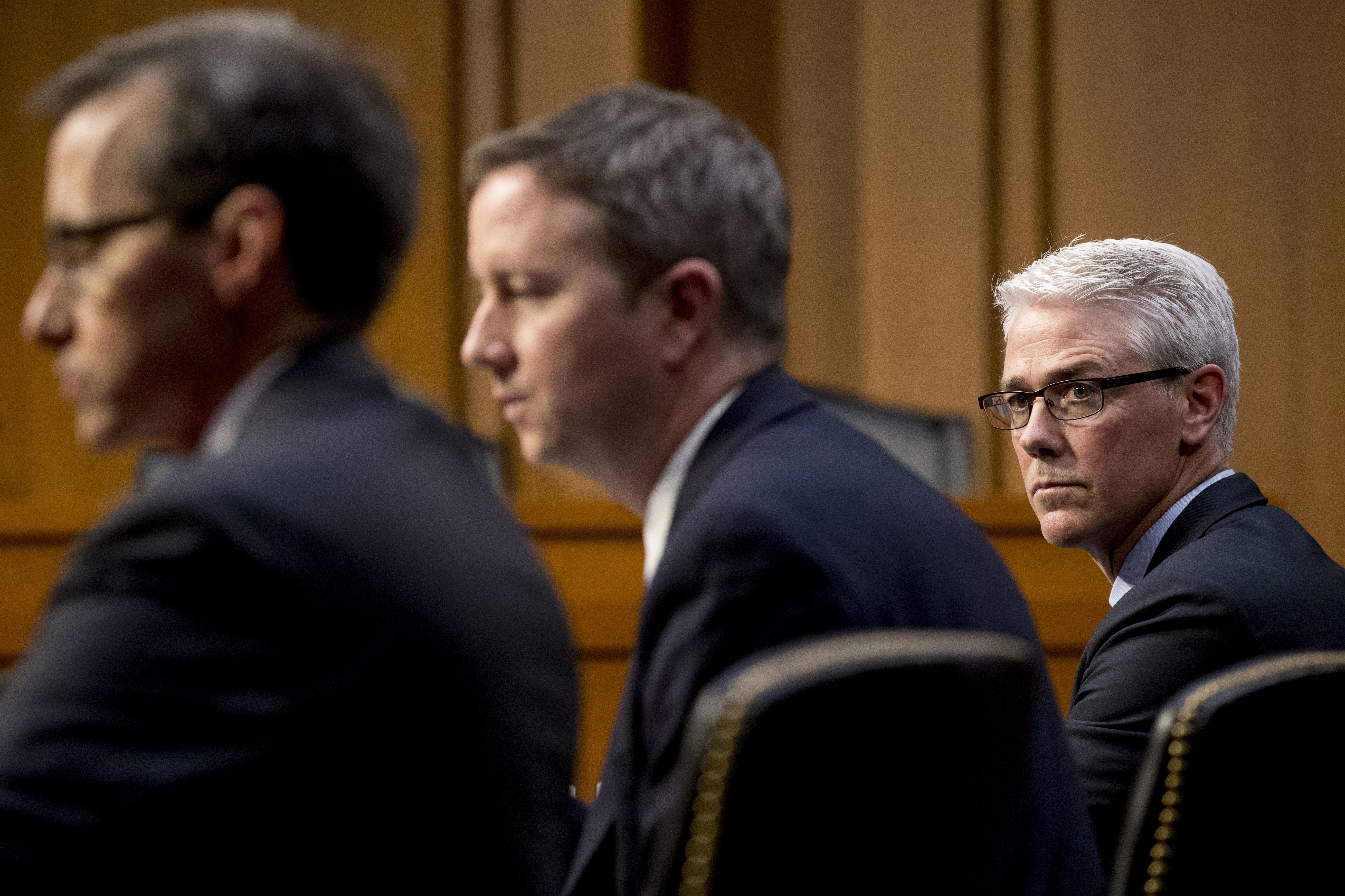 From left, Google's Law Enforcement and Information Security Director Richard Salgado, Twitter's Acting General Counsel Sean Edgett, and Facebook's General Counsel Colin Stretch, appear together during a Senate Committee on the Judiciary, Subcommittee on Crime and Terrorism hearing on Capitol Hill in Washington, Tuesday, Oct. 31, 2017. (AP Photo/Andrew Harnik)<p></p>