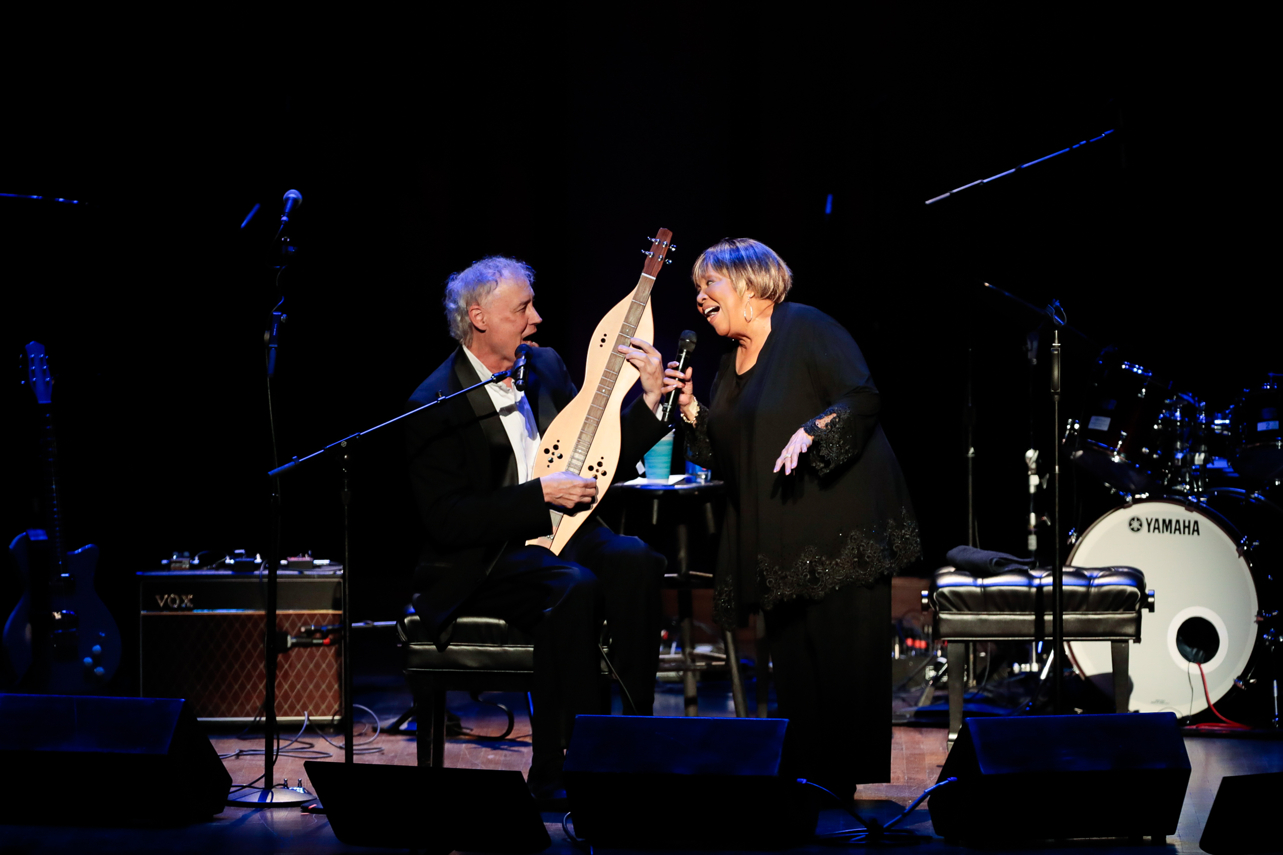 "The song was one he wrote in the 90s and sent to The Staple Singers to record, but it never worked out. So when Hornsby was recording his album ""Rehab Reunion"" in 2016, he reached back out to Mavis and the duo finally nailed it.{ } (Image: Yassine El Mansouri for the Kennedy Center)"