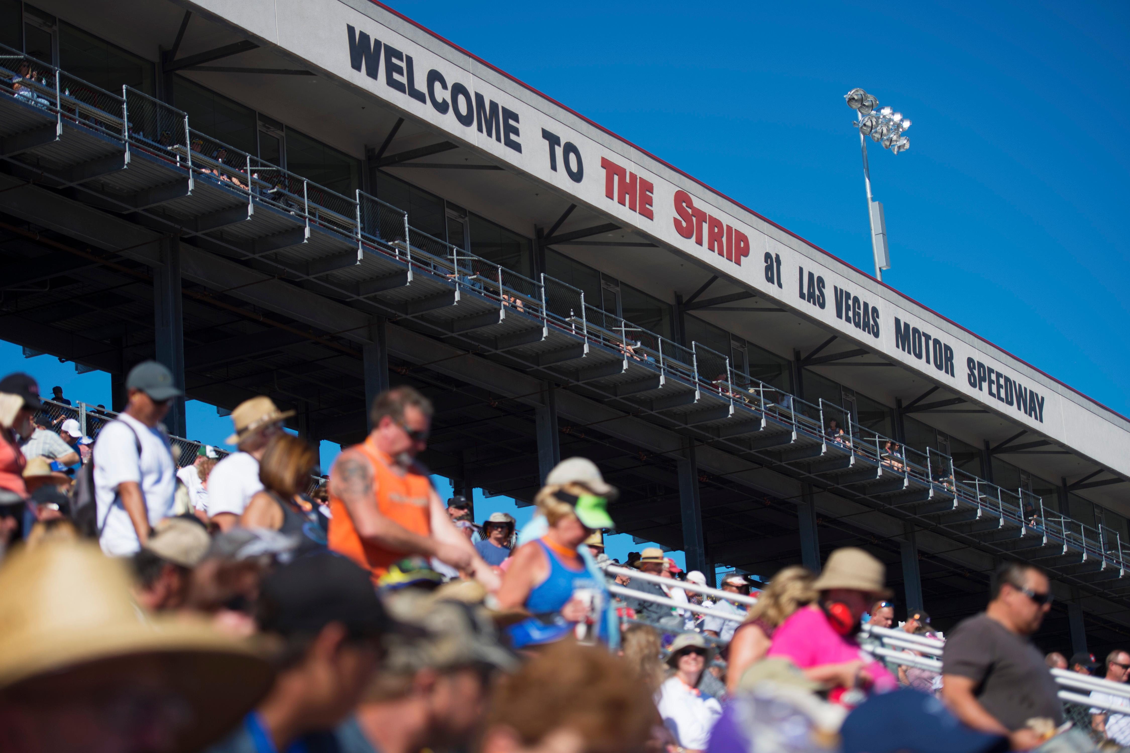 A sell out crowd watches the action at the NHRA Toyota Nationals Sunday, October 29, 2017, at The Strip at the Las Vegas Motor Speedway. CREDIT: Sam Morris/Las Vegas News Bureau