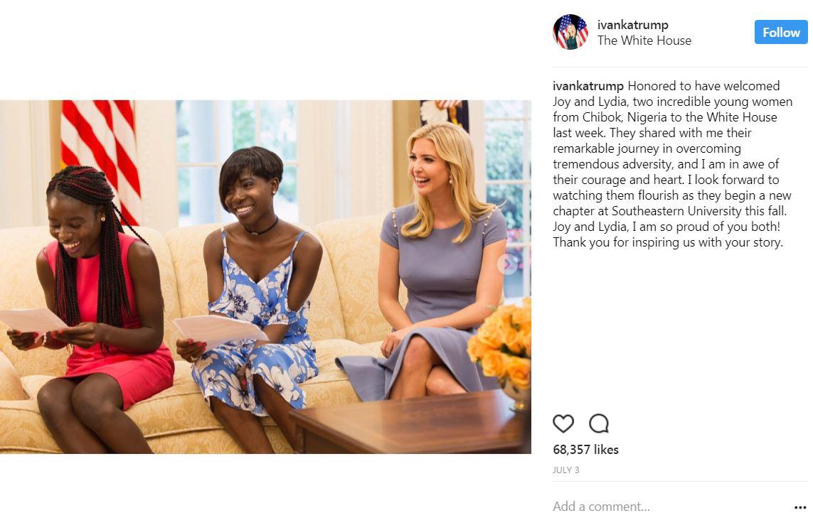 Ivanka welcomed two young women from Chibok, Nigeria (Joy and Lydia) to the White House who will be attending  Southeastern University this fall. (Image: Courtesy IG user @ivankatrump)