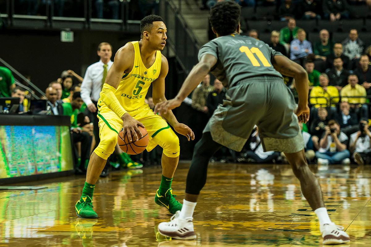 Oregon's Elijah Brown (5) led the Ducks with 19 points in their matchup with ASU, Thursday. Oregon defeated ASU 75-68 to improve their season record to 18-10 (8-7 PAC-12). The Ducks face off against fourteenth ranked Arizona for their final home game of the season at Matthew Knight Arena on Saturday. (Photo by Colin Houck)