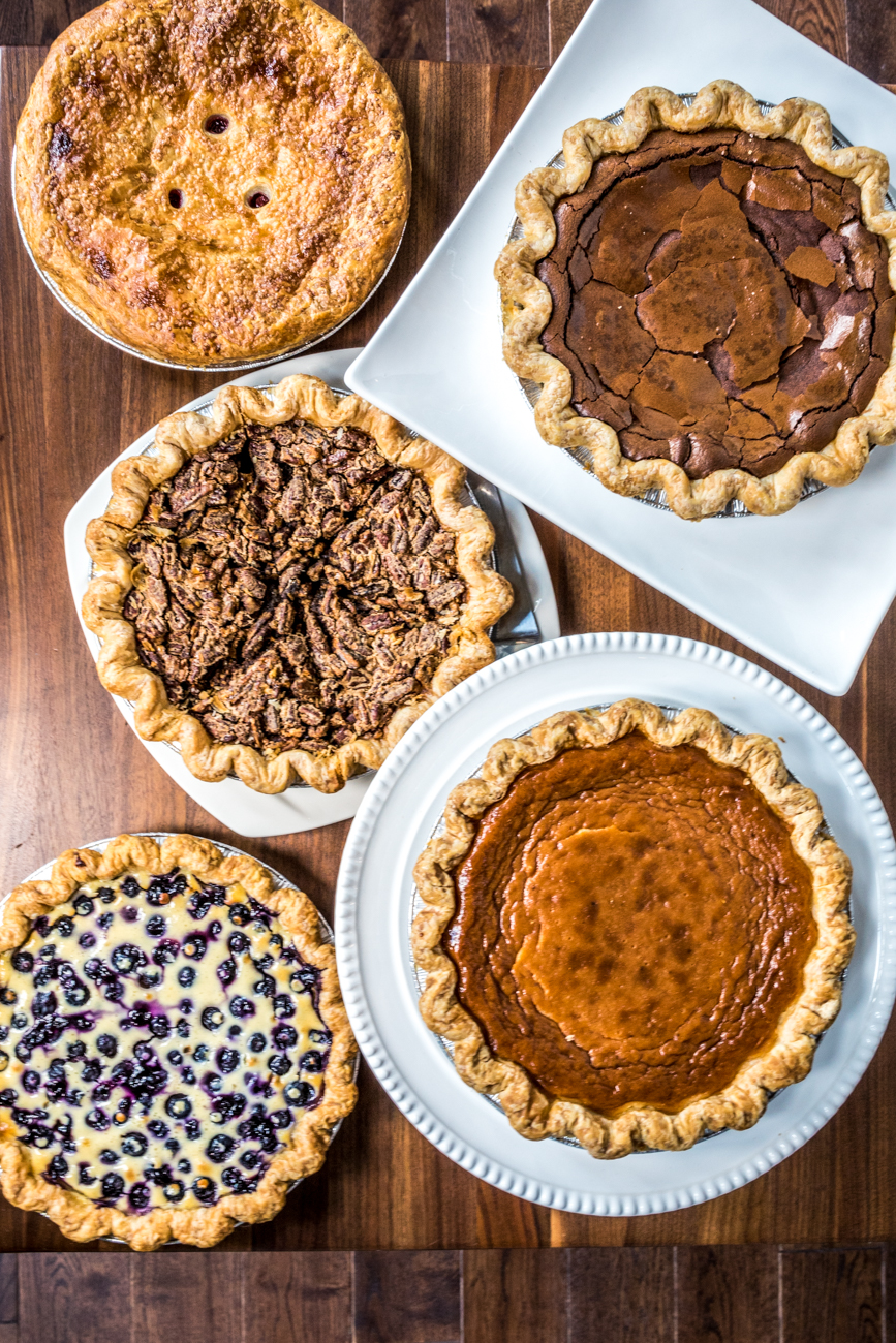 Cherry, Pecan, Blueberry Pancake, Dark Chocolate, and Honey Vinegar Pies / Image: Catherine Viox{ }// Published: 9.16.20