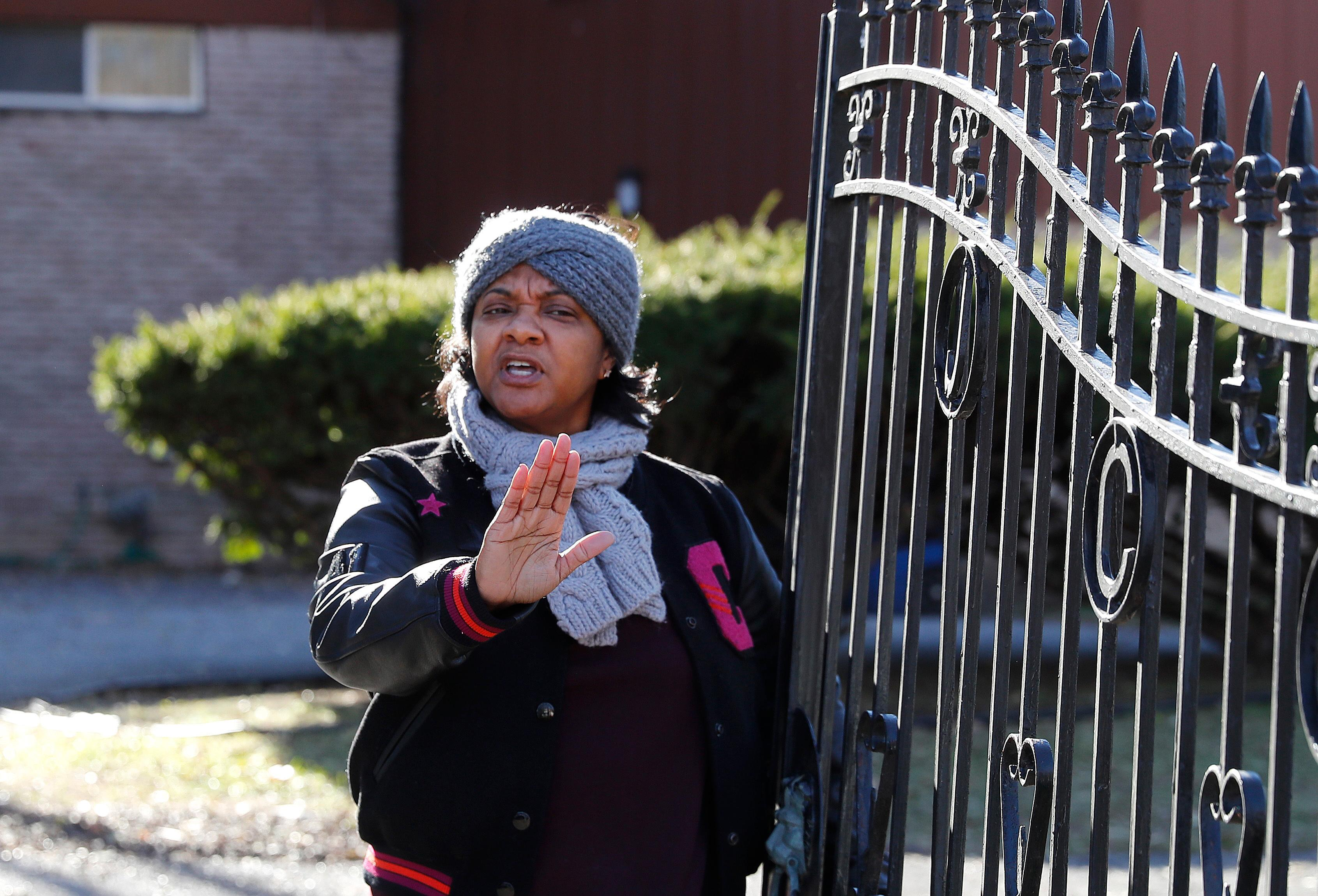 Monica Conyers, wife of Rep. John Conyers, D-Mich., speaks to the media outside her home Wednesday, Nov. 29, 2017, in Detroit. Rep. Conyers is being pressured by some in Washington to resign. Rep. Conyers recently stepped down from his post as top Democrat on the House Judiciary Committee after facing allegations of sexual harassment by former staffers. (AP Photo/Paul Sancya)