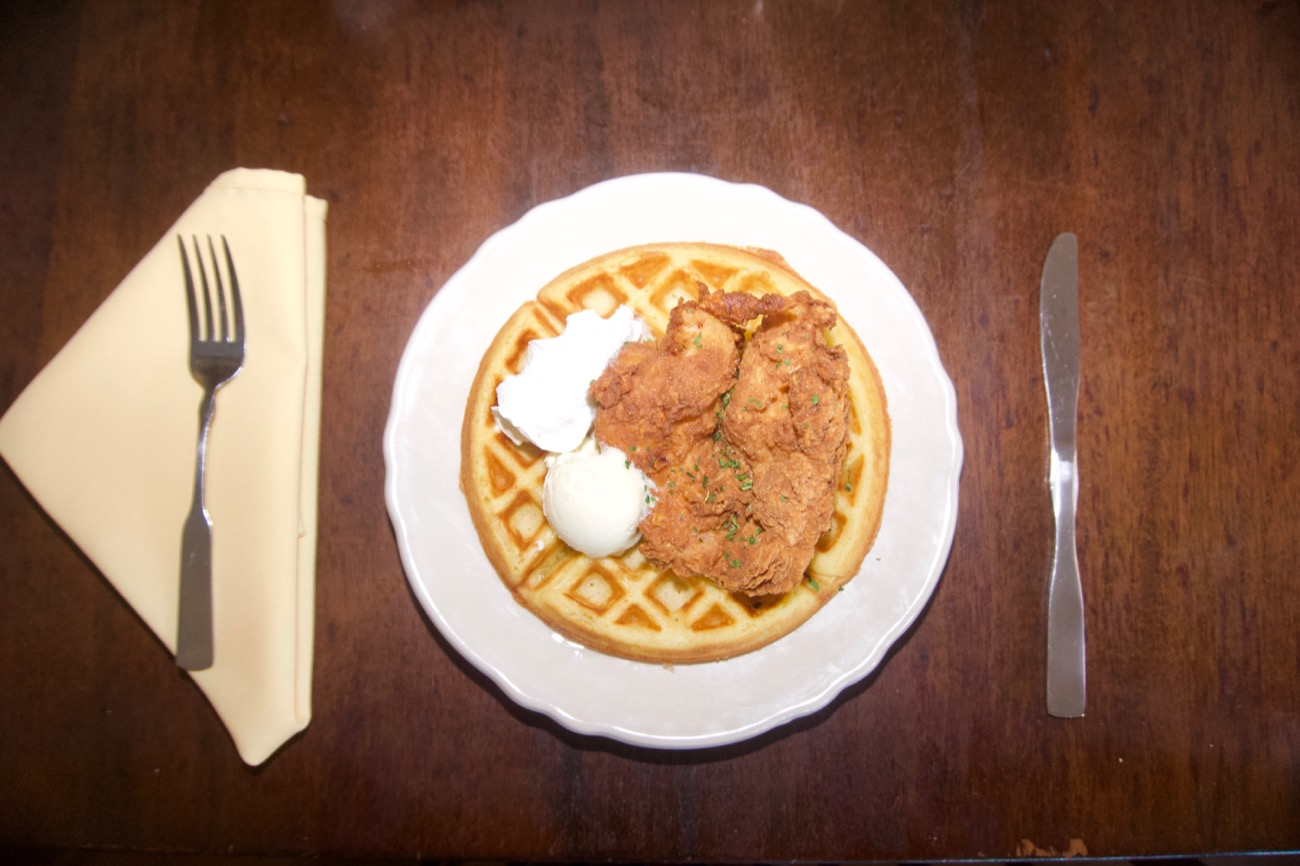 Fried chicken breast and waffles, with whipped butter and syrup / Image: Brian Planalp // Published: 6.18.18
