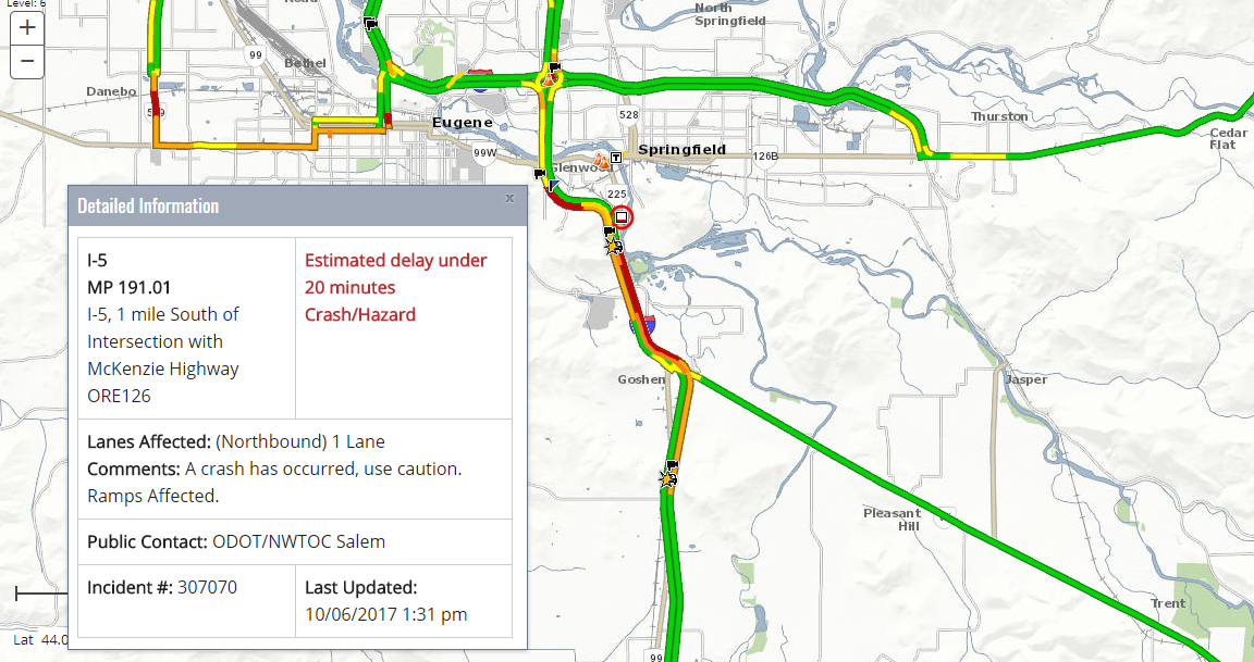 A crash slowed traffic on Interstate 5 south of the Highway 126 interchange on Friday afternoon. (ODOT TripCheck)<p></p>