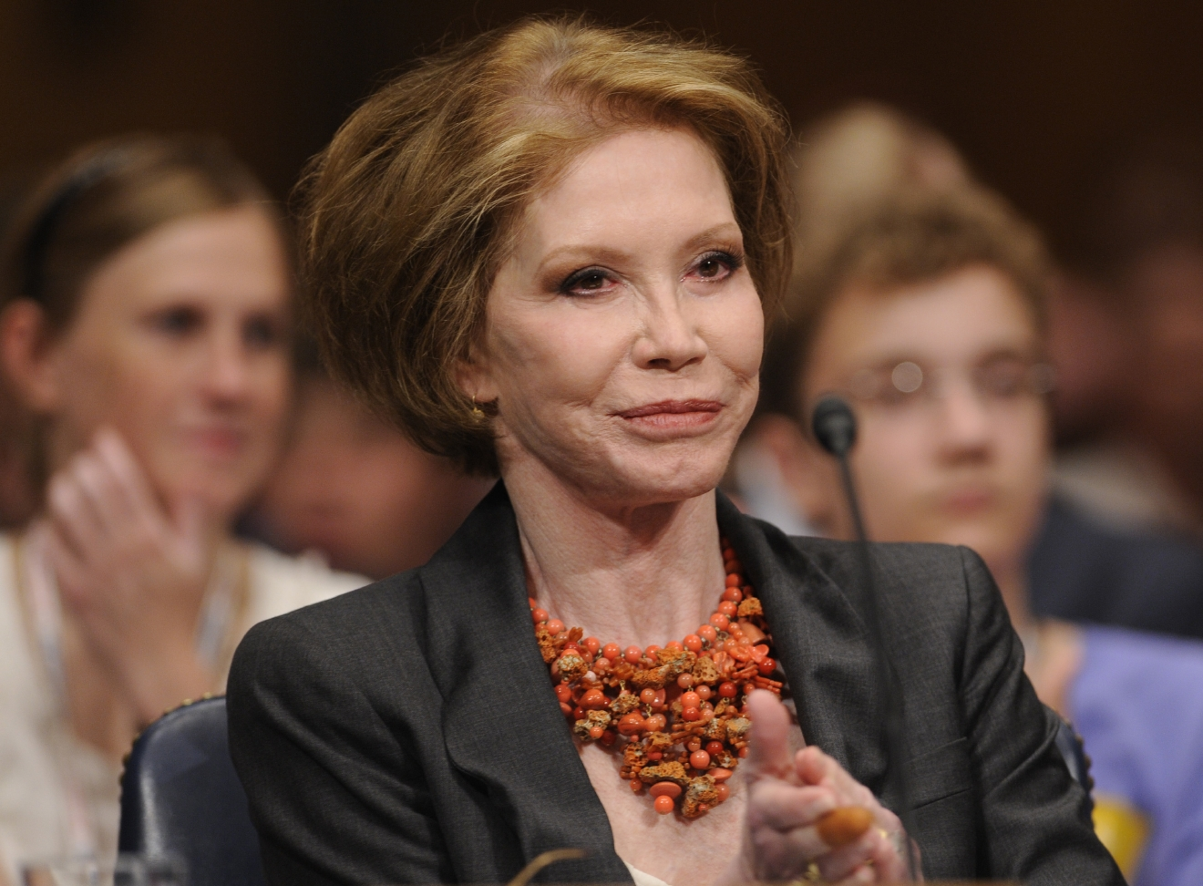 FILE - This June 24, 2009 file photo shows actress Mary Tyler Moore before the Senate Homeland Security and Governmental Affairs Committee hearing on Type 1 Diabetes Research on Capitol Hill in Washington. Moore died Wednesday, Jan. 25, 2017, at age 80. (AP Photo/Susan Walsh, File)