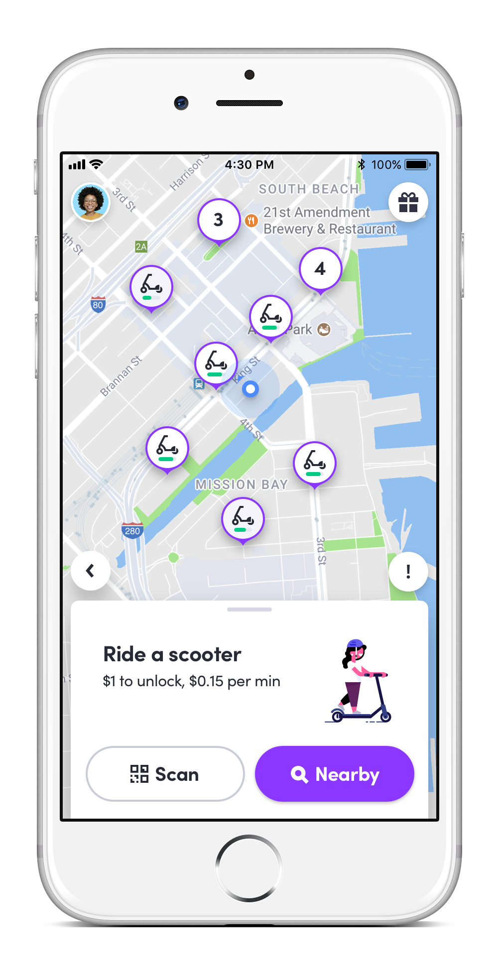 It costs $1 to unlock a scooter and 15 cents for each minute you ride, which includes reservation time and hold time. (Image: Courtesy Lyft)