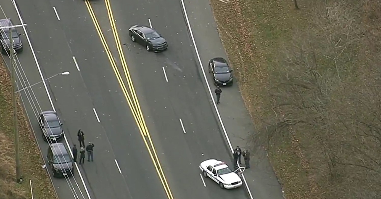 Police are on the scene after two cruisers collided leaving three officers injured in Mitchellville, Md.  Tuesday, Dec. 12, 2017. (SkyTrak7)