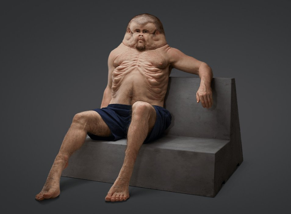 """Graham"" was created by an Australian transit organization to illustrate what humans would look like had they evolved to survive car crashes (Photo courtesy TAC)"