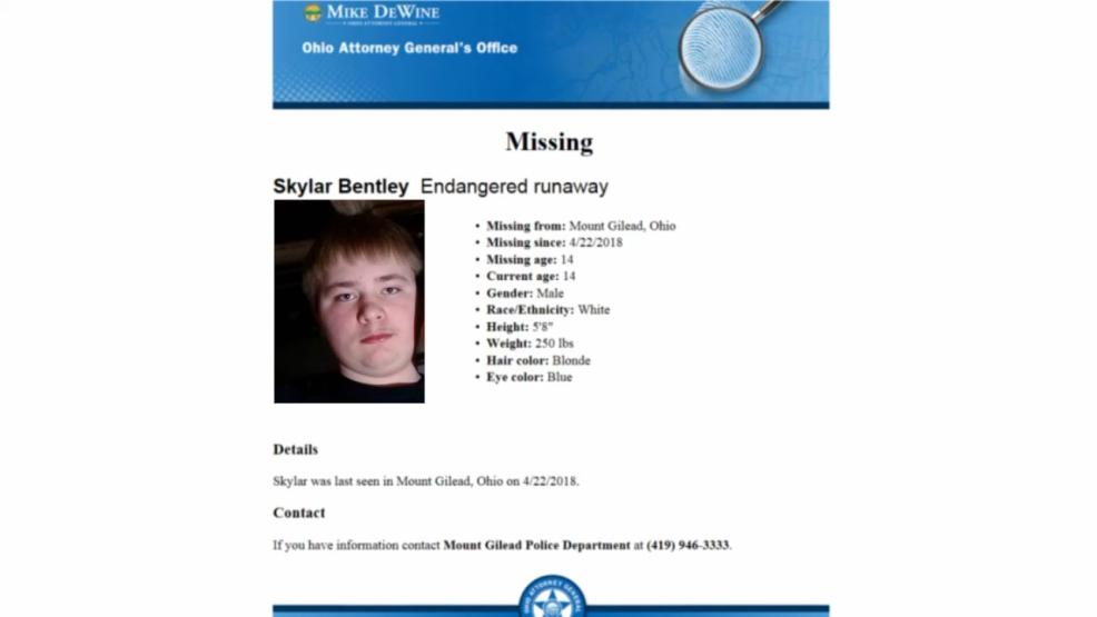 Tuesday's discovery comes after 14-year-old Skylar Bentley was reported missing from Mount Gilead Sunday April 22nd. (Courtesy: Ohio Attorney General's Office)
