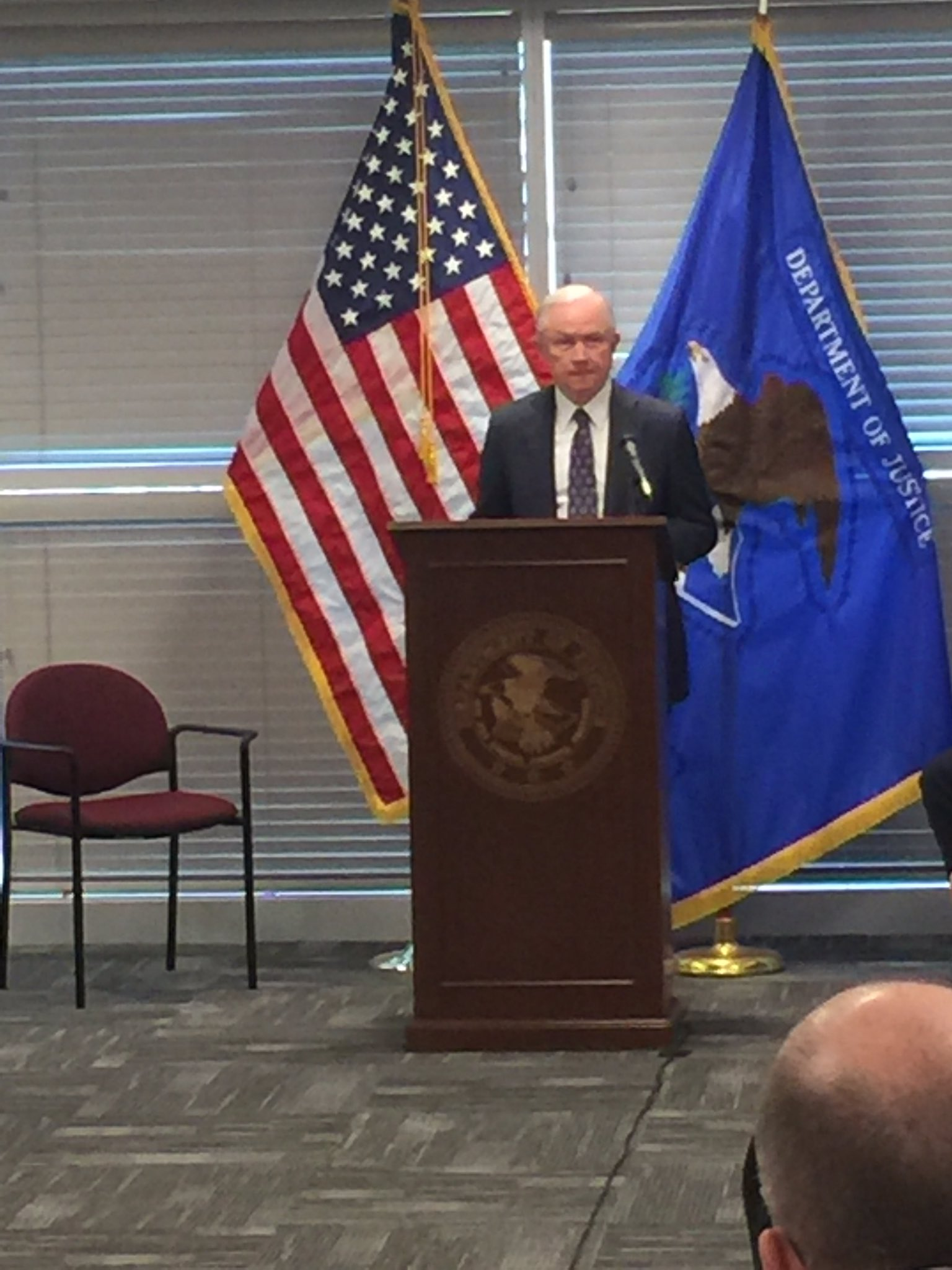 Attorney General Jeff Sessions, giving a speech in Las Vegas on July 12, 2017. (Jeff Gillan | KSNV)
