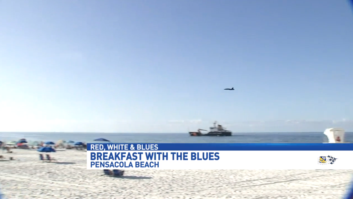 Beachgoers take part in Breakfast with the Blues
