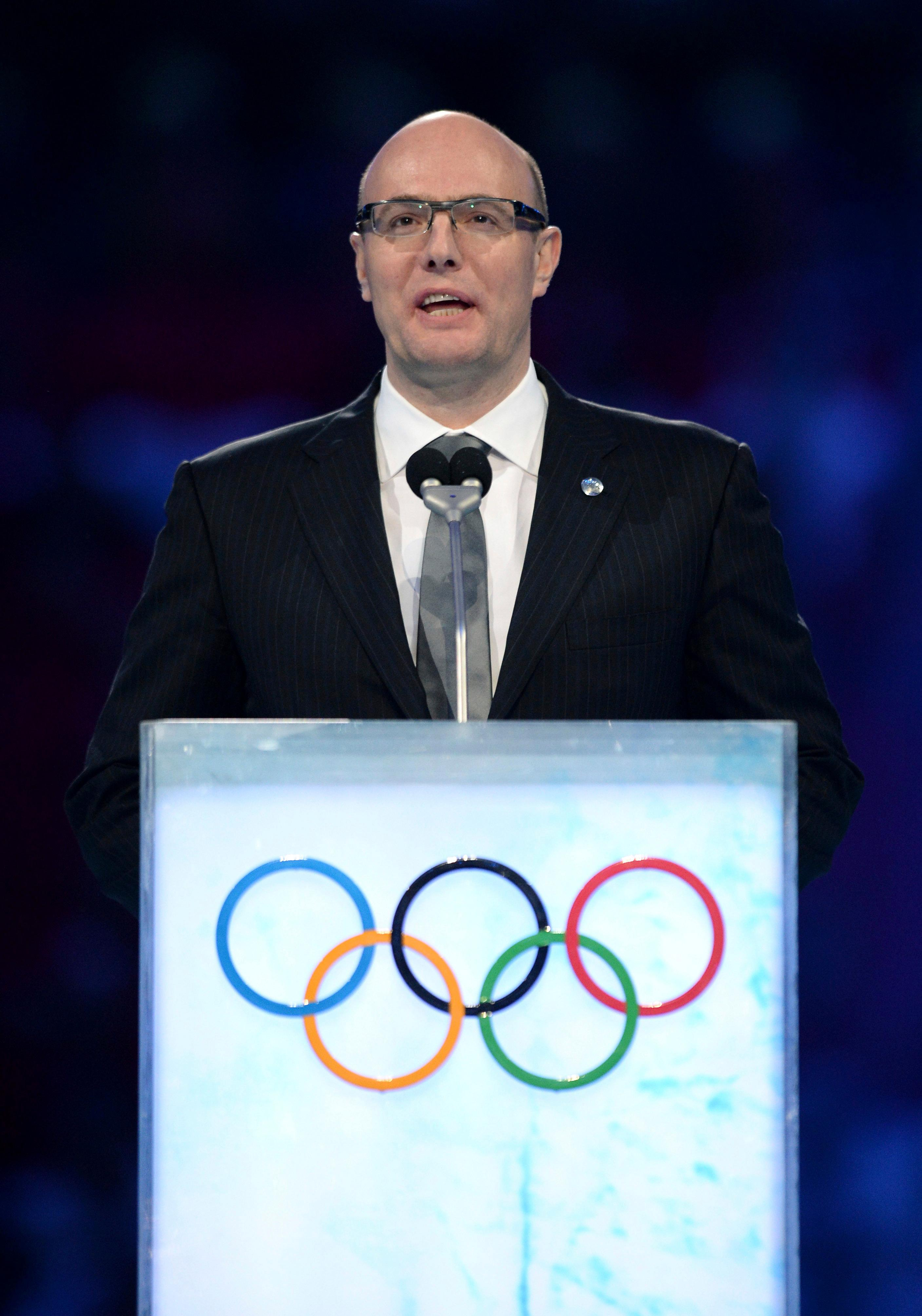 FILE - In this Friday, Feb. 7, 2014 file photo President and CEO of the Sochi 2014 organizing committee Dmitry Chernyshenko speaks during the opening ceremony of the 2014 Winter Olympics, in Sochi, Russia. (Jung Yeon-je, Pool via AP, File)
