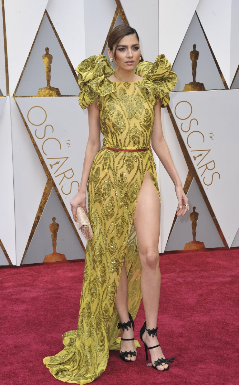 No, no, no, no, no. NO! First of all, that slit is way too high and ended up causing an unfortunate wardrobe malfunction for Blanca on the red carpet. Not to mention those hideous poufed shoulders remind me of a lizard with flared frill. ( Image: Apega/WENN.com)