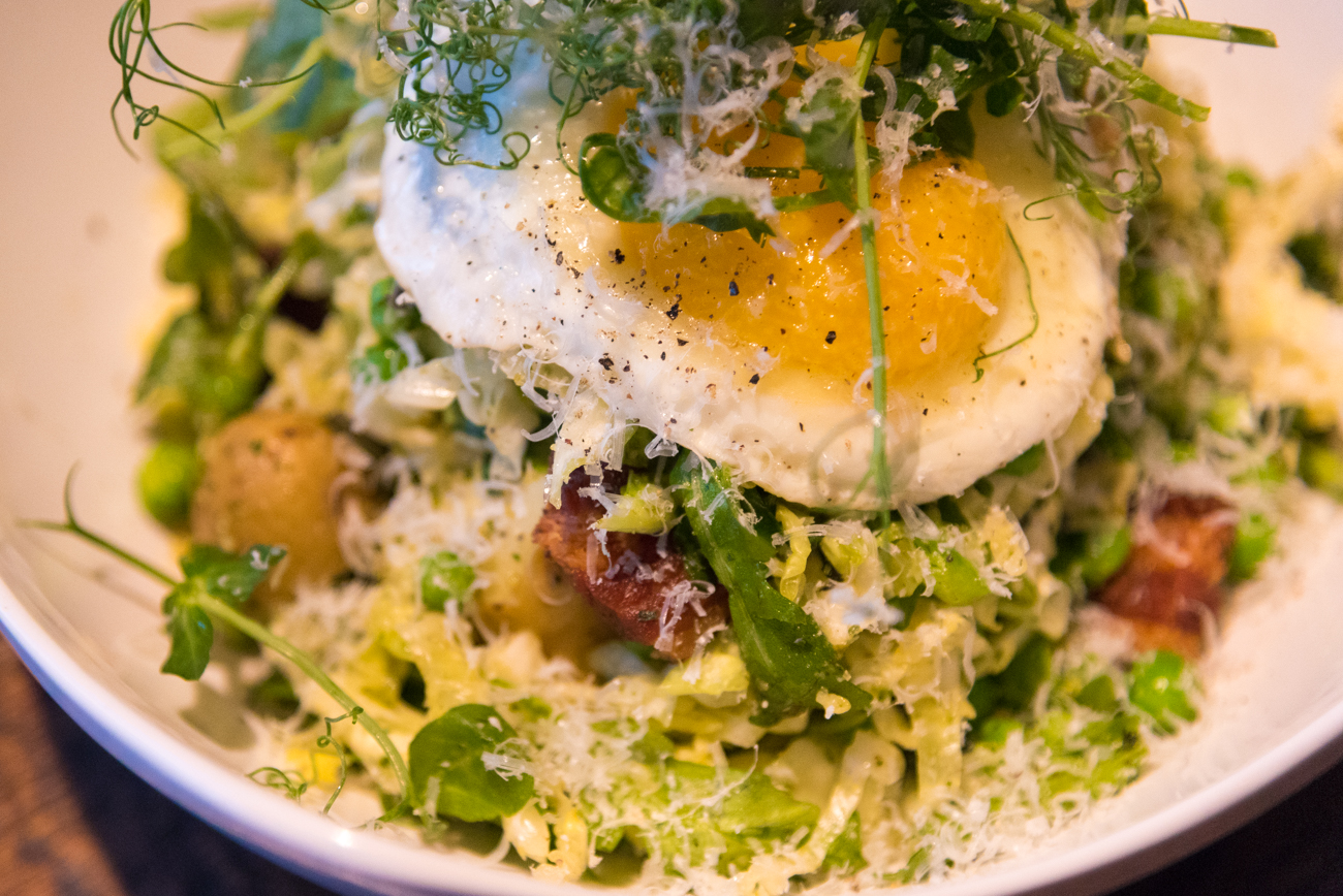 Pea Salad: arugula, savoy cabbage, basil & walnut pesto, fingerlings, peas, mint, pancetta, Pecorino Romano, and an egg / Image: Phil Armstrong, Cincinnati Refined // Published: 12.14.16