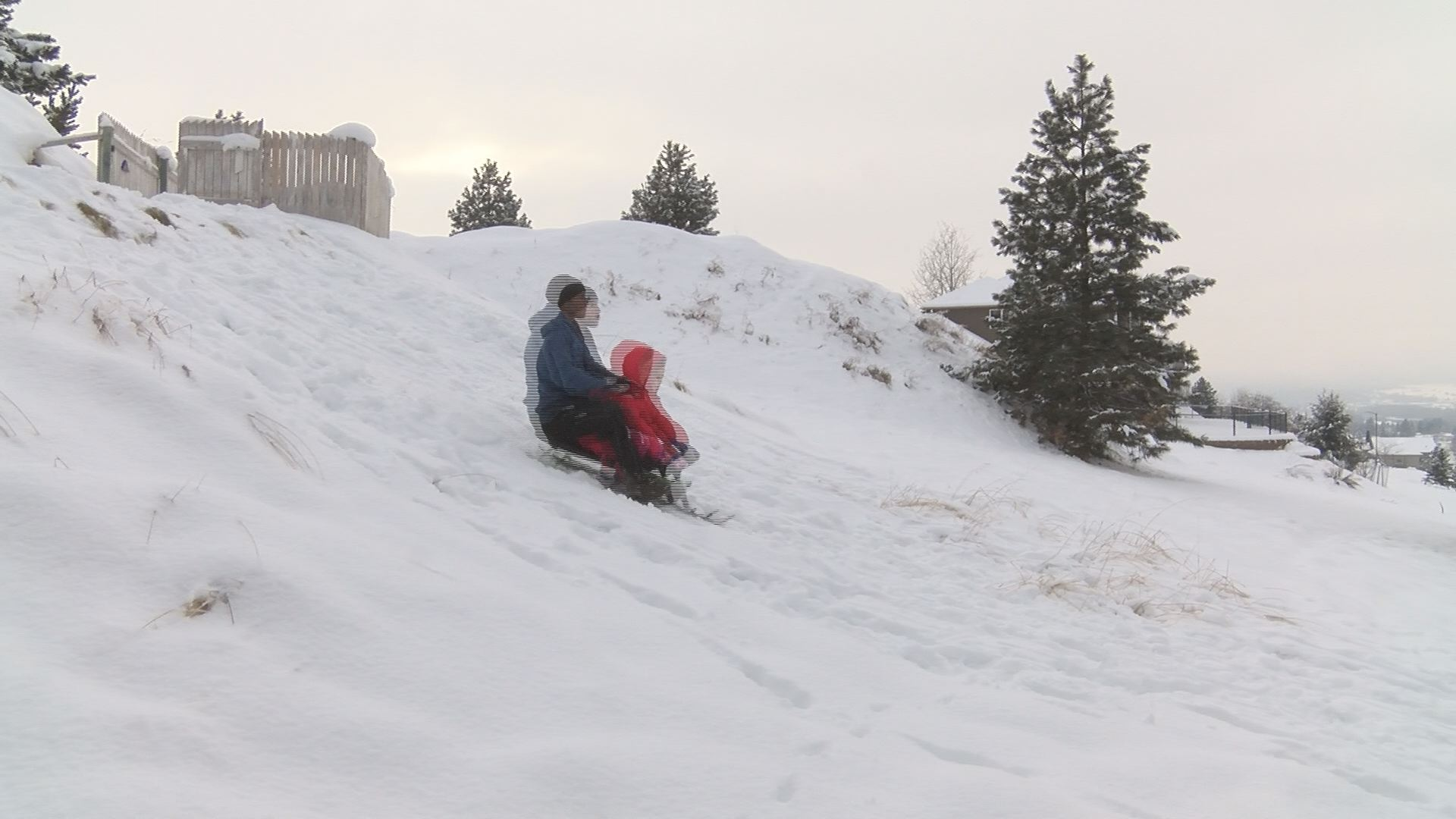 Bergoust sledding with his daughter<p></p>