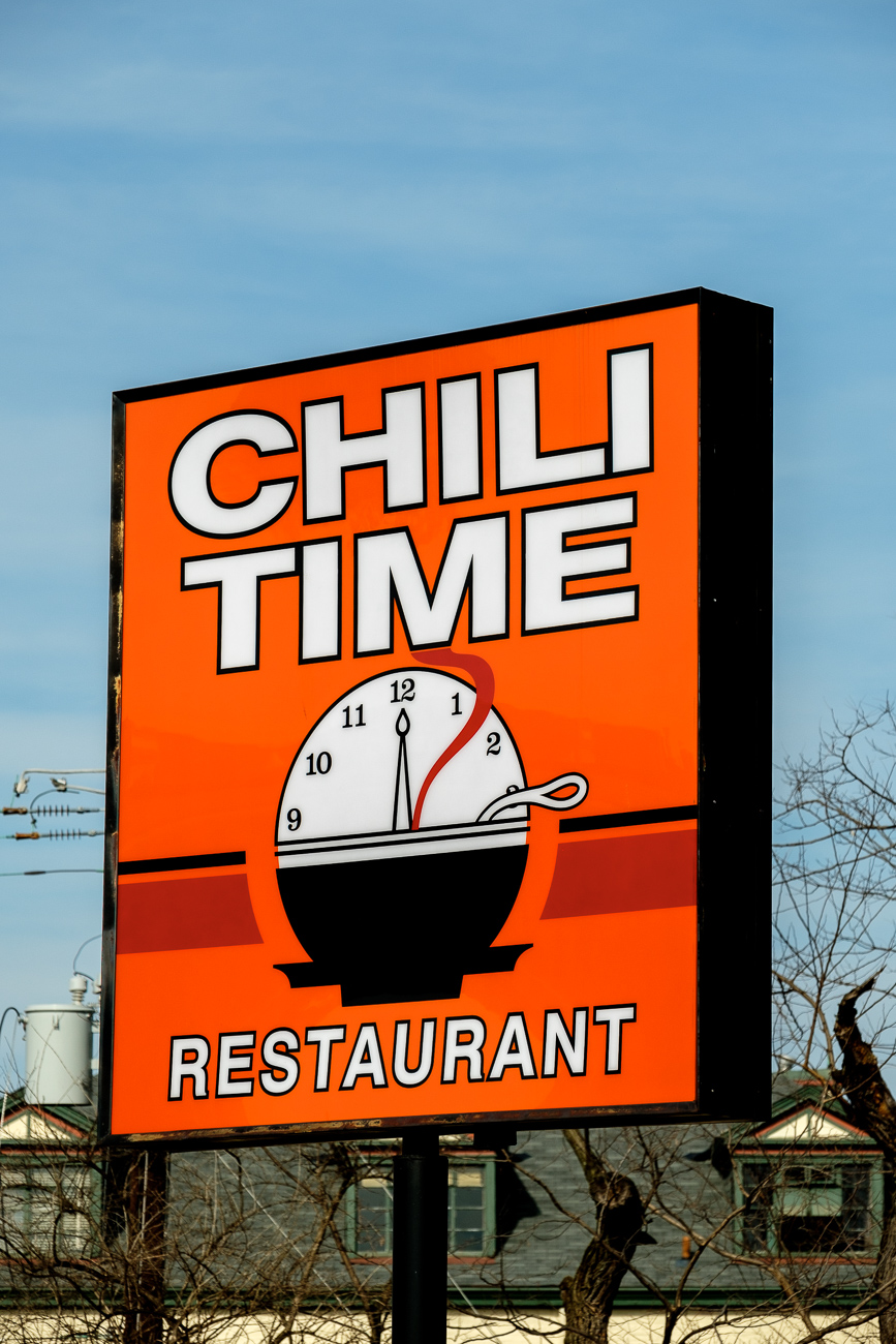 SIGN: Chili Time / ADDRESS: 4727 Vine St, Cincinnati, OH 45217 // Image: Daniel Smyth // Published: 2.18.17