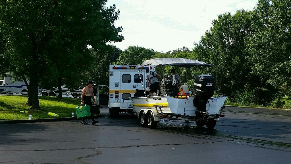 The Highway Patrol searched the for bodies of two missing boaters on Saturday. KRCG 13 photo.
