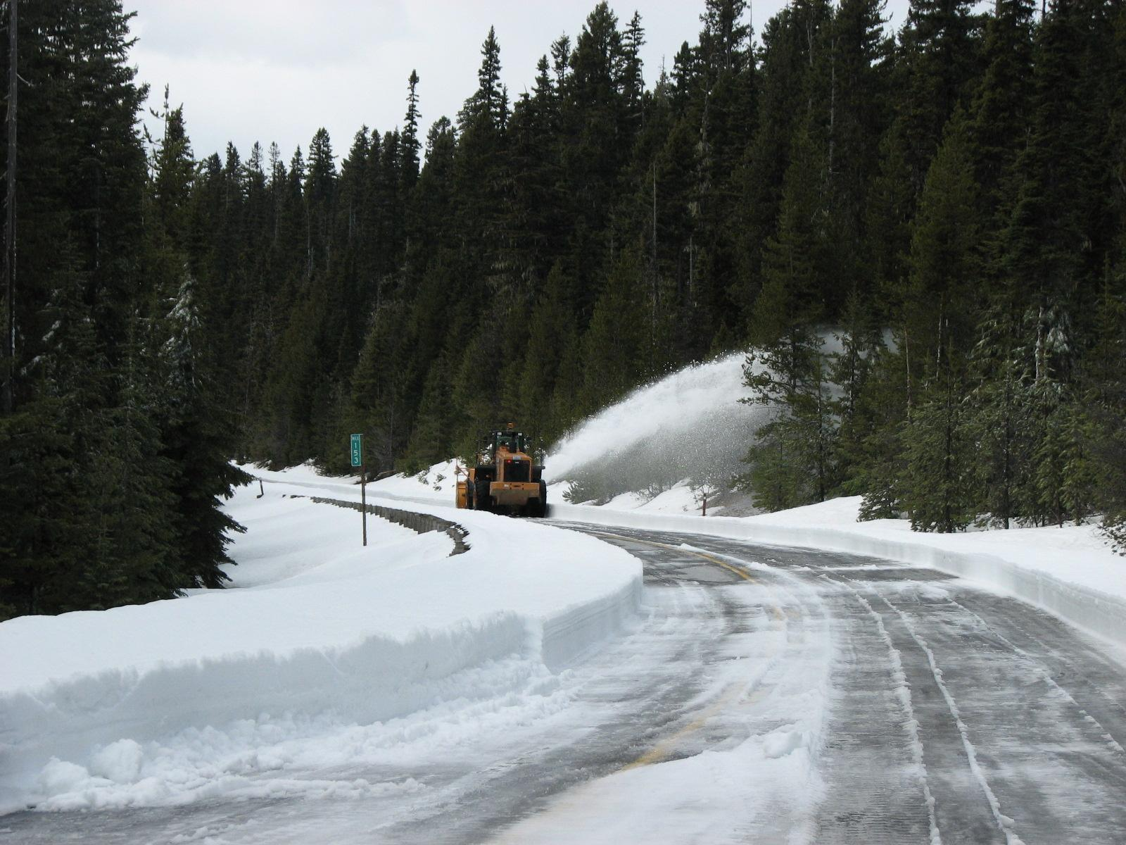 WSDOT crews work to clear SR-20/North Cascades Highway in time for a May 16 opening. (Photo: Washington State Department of Transportation)