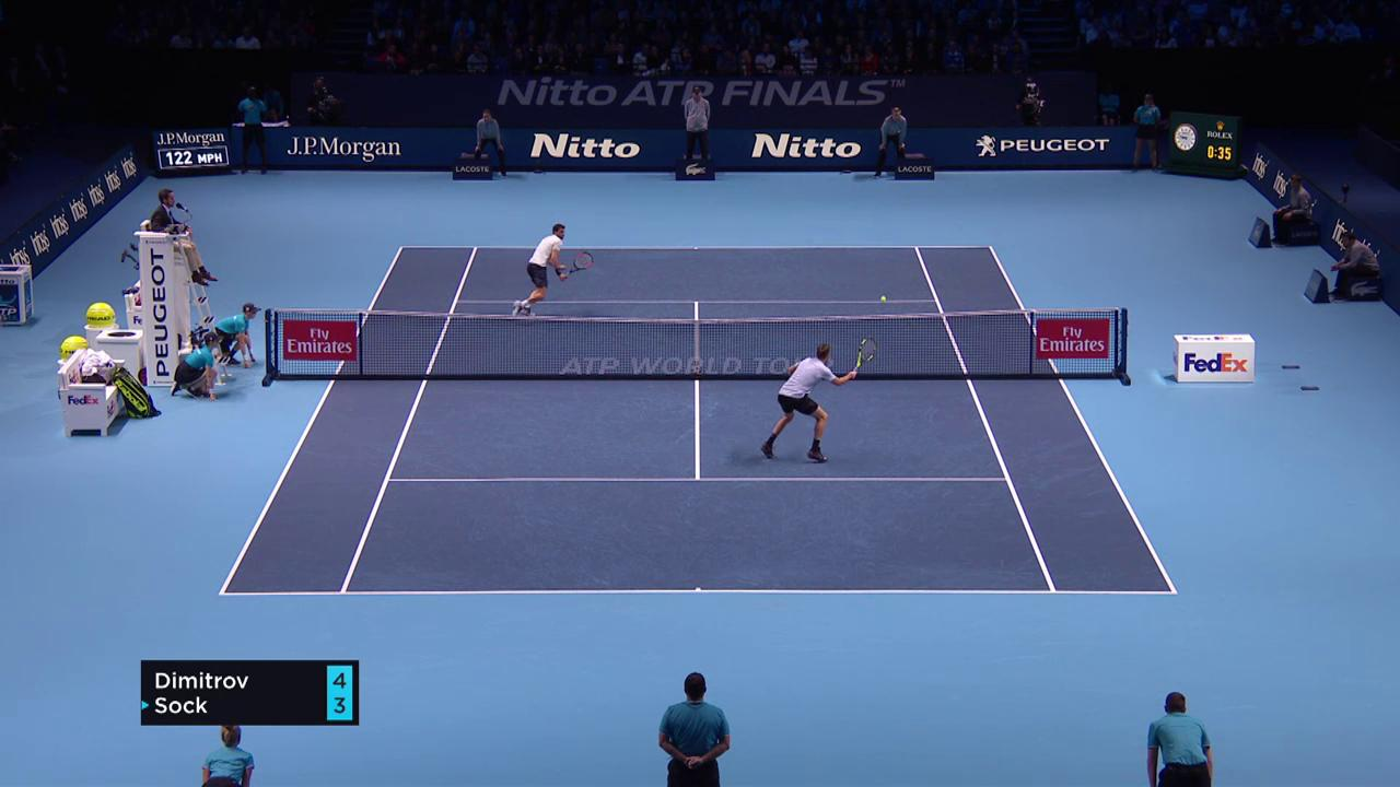 Grigor Dimitrov (BUL) v Jack Sock (USA) in the 2017 ATP Finals Semifinals HighlightsThumbnail