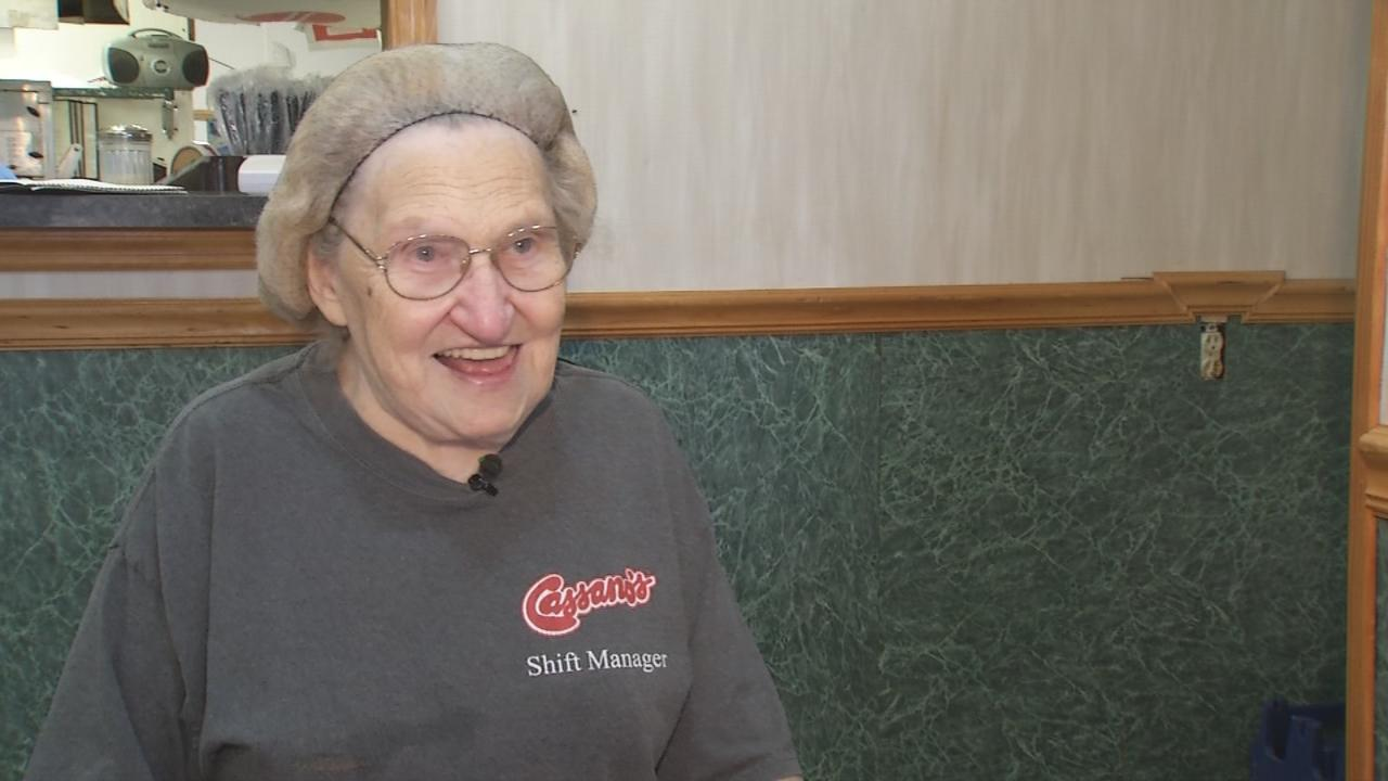 Cassano's employee Mabel Cline retired Aug. 24, 2016, after 57 years with the company. (WRGT)