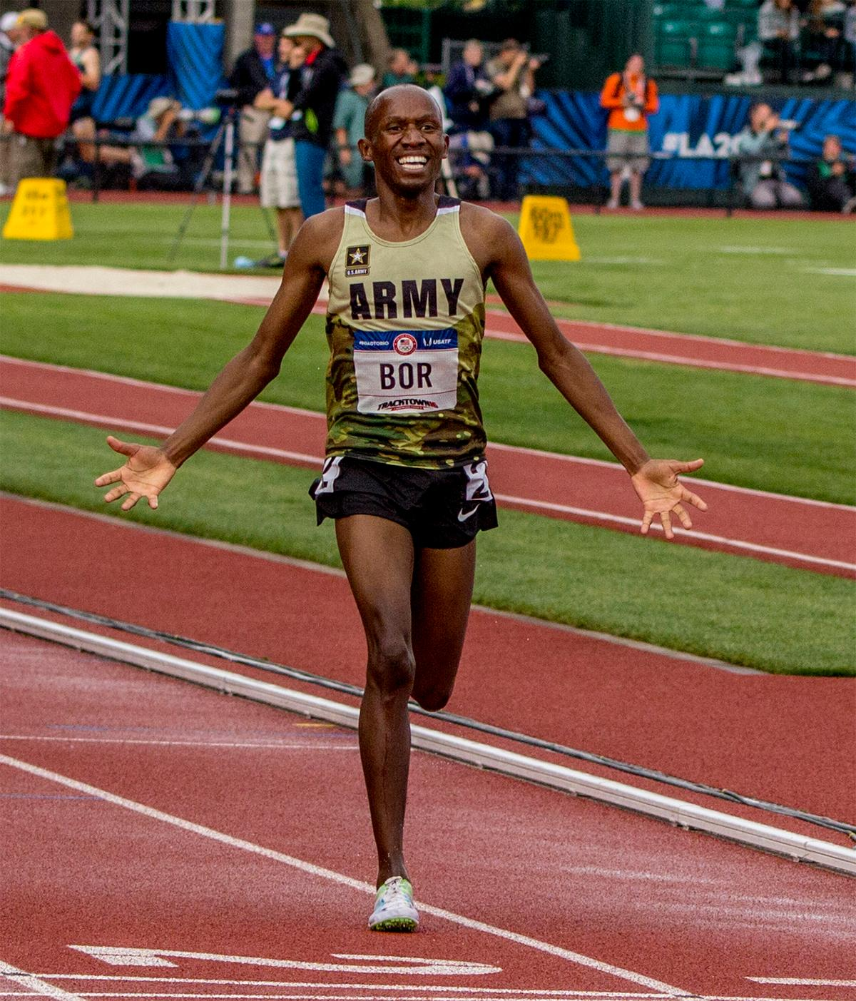 U.S. Army's Hillary Bor celebrates as he crosses the line in second place in the 3,000 meter steeplechase. Bor finished second with a time of 8:24.10. Photo by August Frank, Oregon News Lab