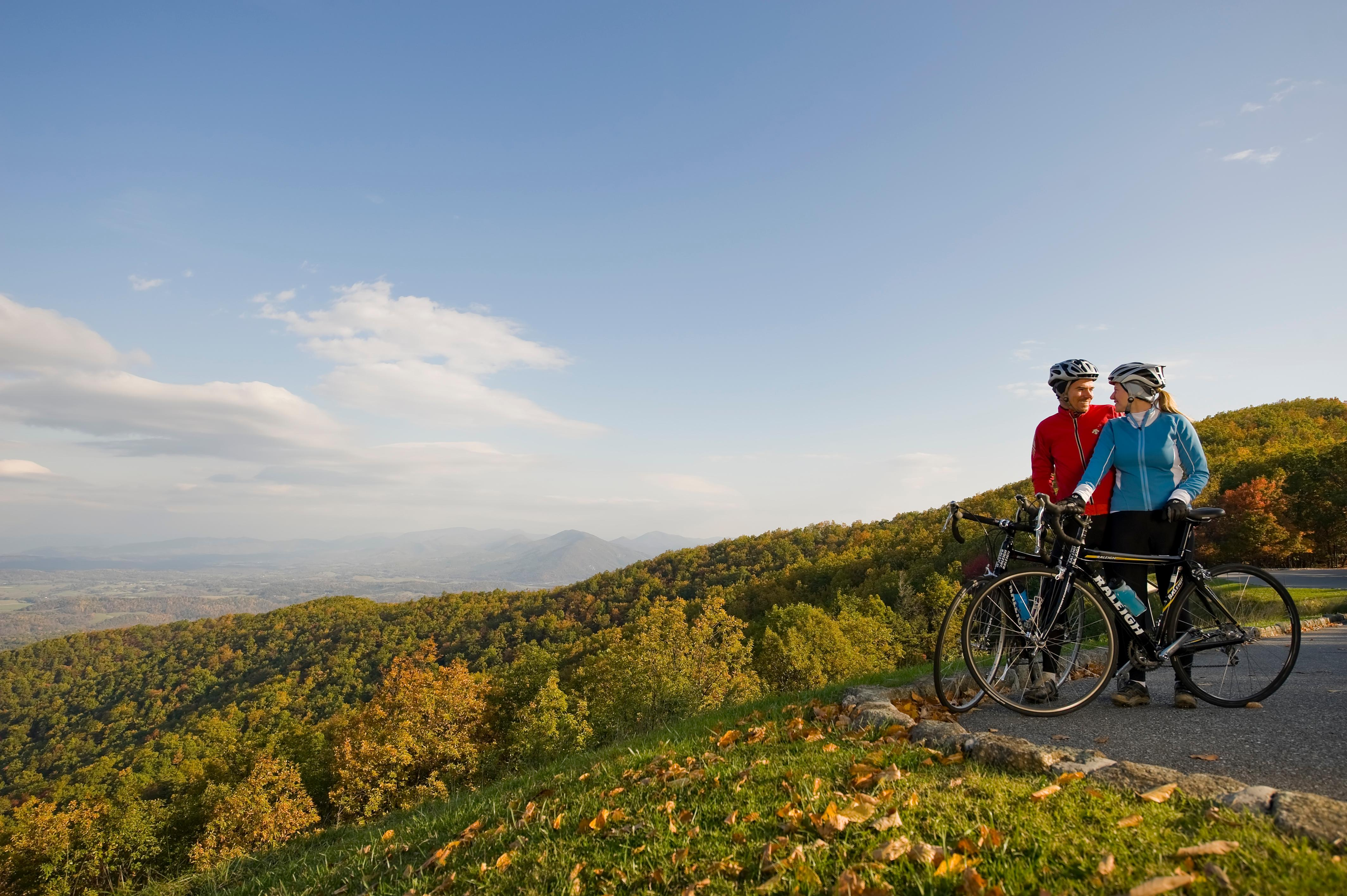 Bicyclists stop at an overlook on the Blue Ridge Parkway. (Image: Scott K. Brown)