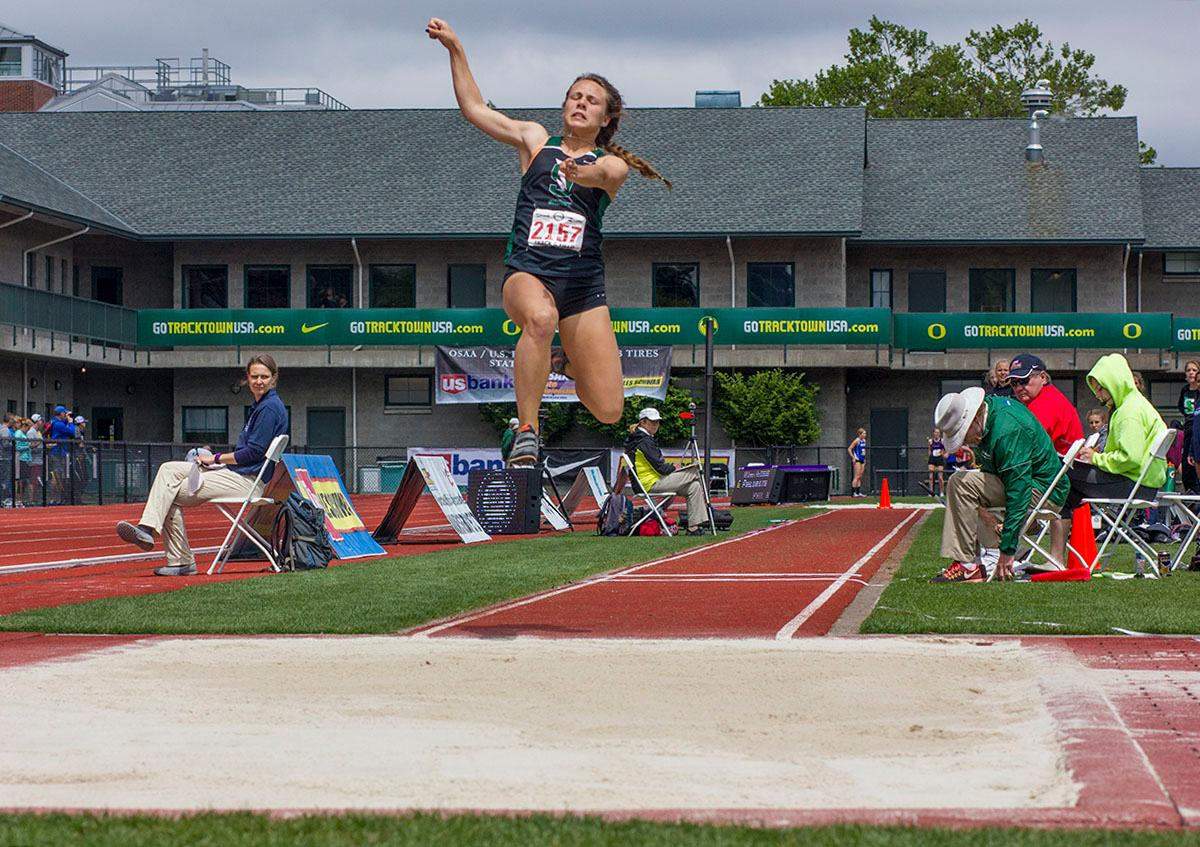 Camille Weaver of Summit High School wins the 5A Girls Triple Jump with a distance of 11.51 meters on Saturday at the 2017 OSAA State Track and Field Championships at Hayward Field. Photo by: Stephanie Cusano, Oregon News Lab