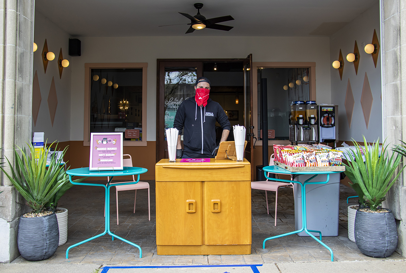 <p>Jacob Trevino, owner of Gorilla Cinema, opened a to-go daiquiri shop at the Lonely Pine Steakhouse in Pleasant Ridge. The Daiquiri + Snacks Pop-Up Shop offers two sizes for alcoholic and non-alcoholic frozen drinks, 20oz and 32oz, with a purchase of a snack. Drink flavors rotate daily (and even hourly) depending on demand, so make sure to check Gorilla Cinema on Facebook for the most up to date options available. ADDRESS: 6085 Montgomery Road (45213) / Image: Allison McAdams // Published: 4.27.20</p>
