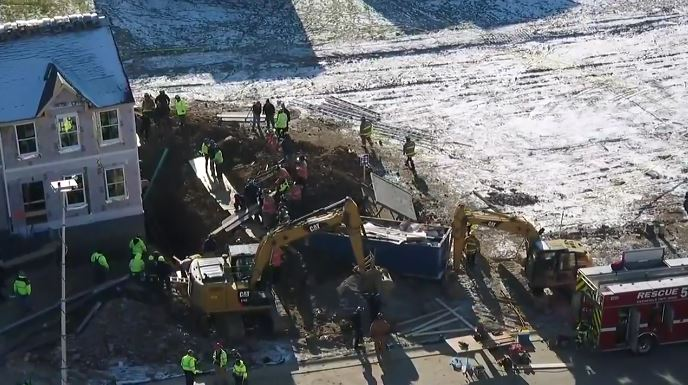 Rescue effort has turned into a recovery effort after a person became trapped in a trench collapse in Warren County, Ohio. (Image: WKRC)
