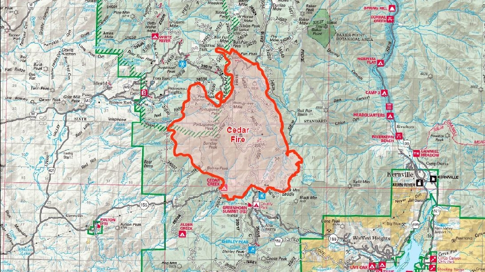 Cedar Fire Prompts Evacuations In Kern Tulare Counties KBAK - Cedar fire map