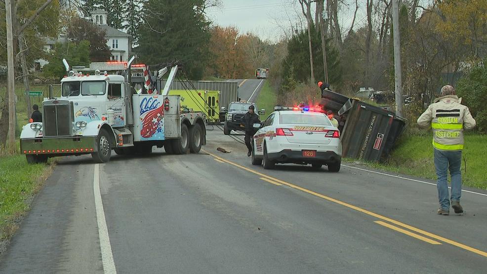 Dump truck driver taken to hospital after Gorham crash