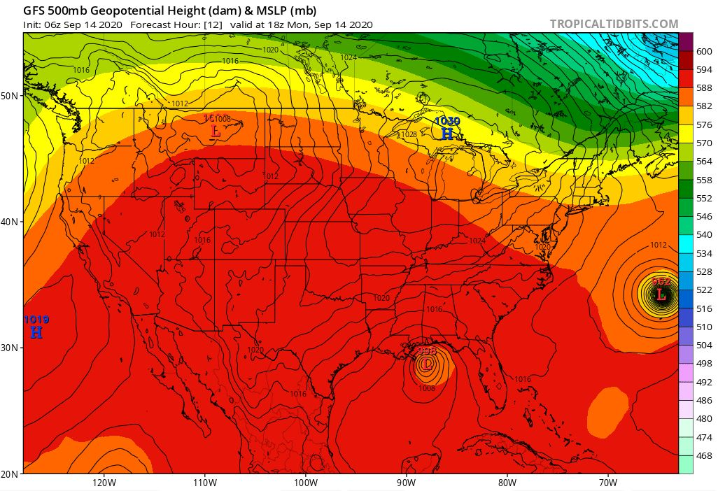 Upper level ridging sets up over the western continental United States. (WWMT/ Courtesy tropicaltidbits.com)