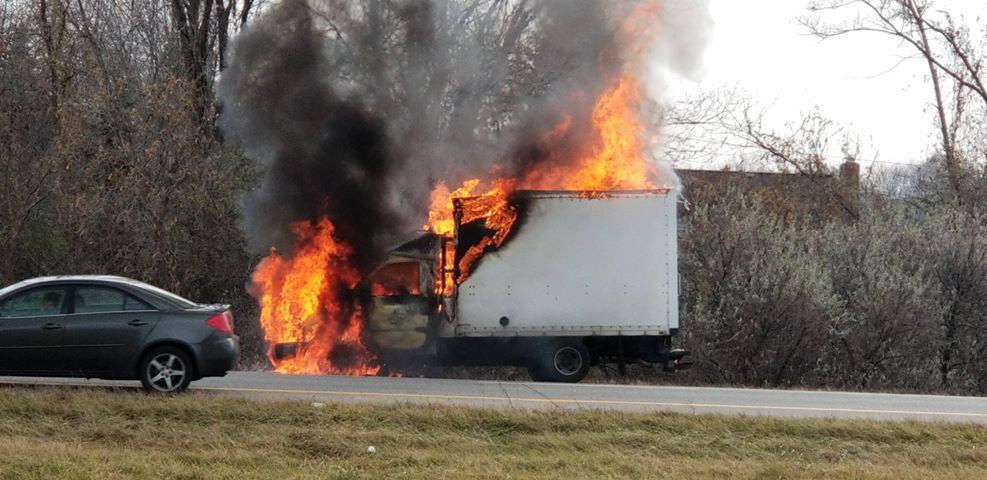 A box truck caught fire on Rt. 490 East Monday, slowing traffic in the morning. (Photo: Raynelle A.)
