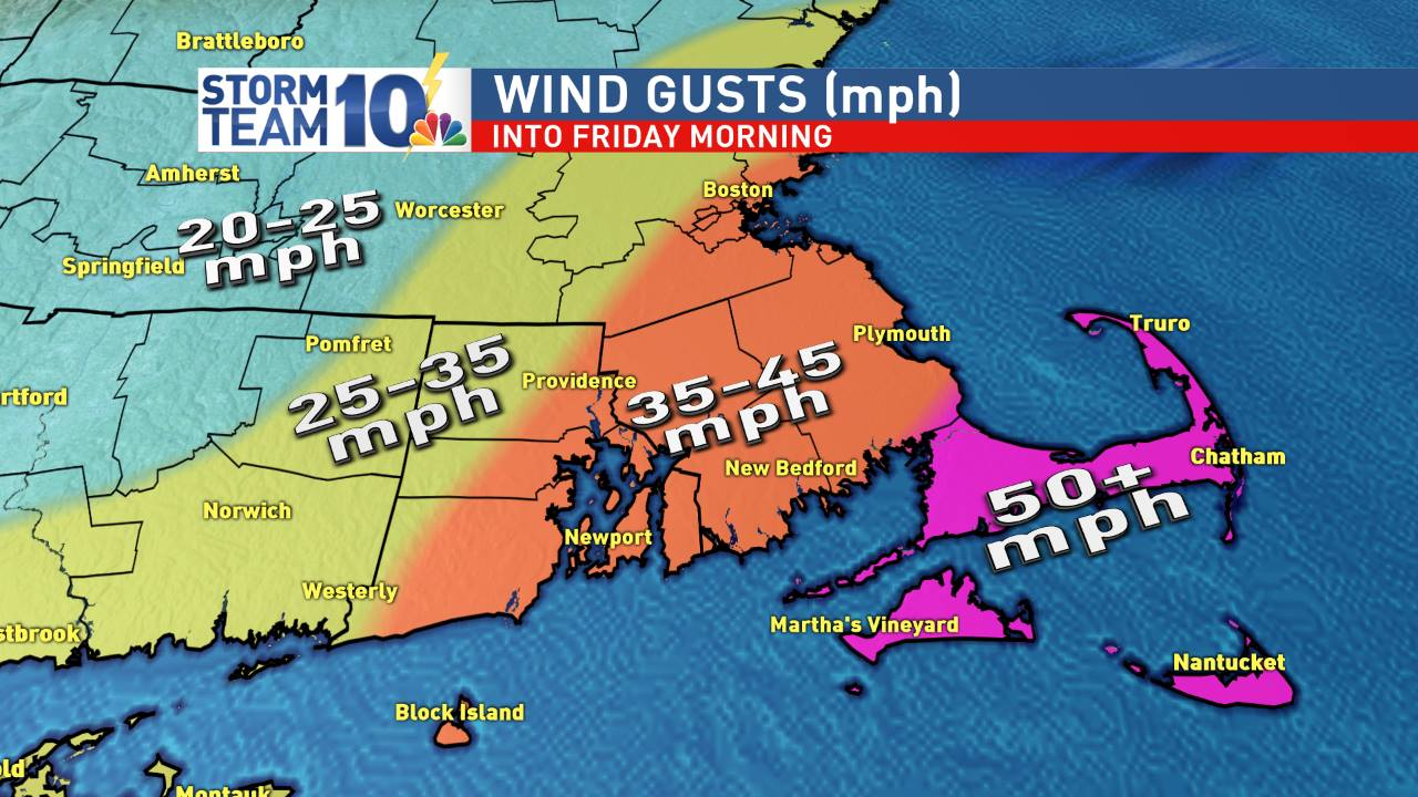 Wind gusts through Friday morning