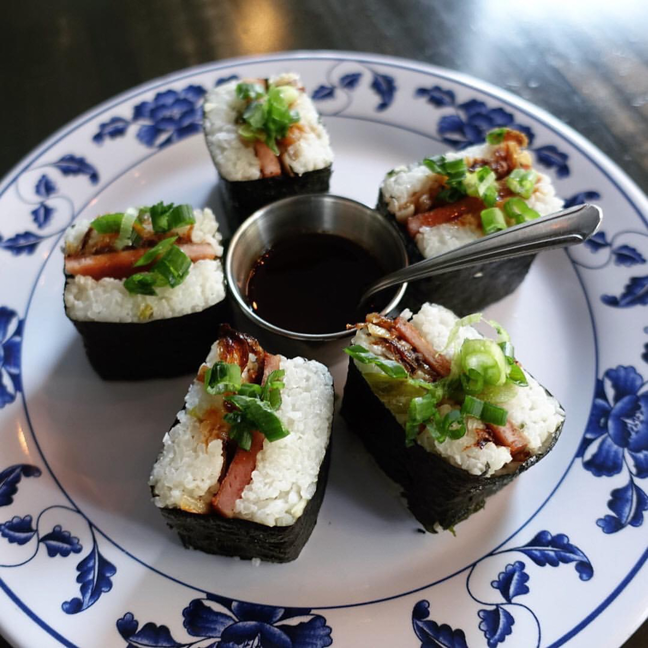 Musubi: spam, rice, caramelized onions, and gojuchang sauce / Image courtesy of Quan Hapa // Published: 1.10.17