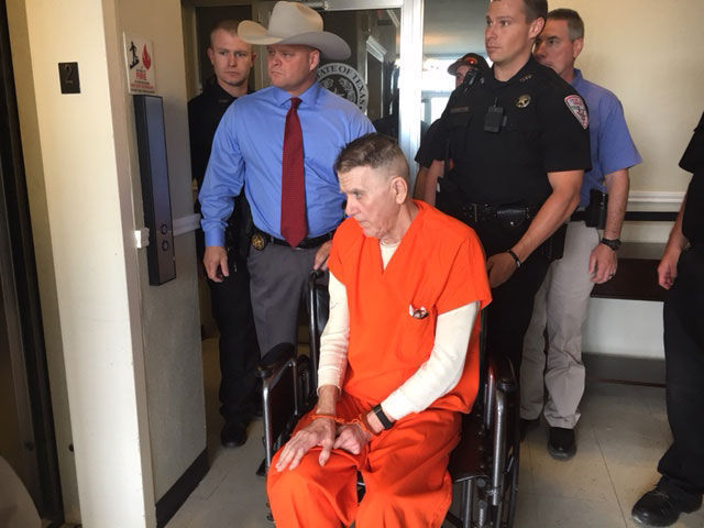 Lloyd Paul Westfall, appearing much thinner and frail since his March 2014 arrest, was in a wheelchair and was pushed into the courtroom by Tyler County Sheriff Bryan Weatherford and his deputies. (KTRE 9 News in Lufkin)