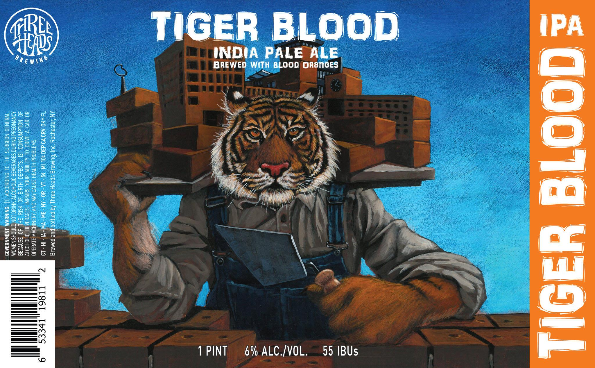 <em>RIT alumnus Al Firlit '99, '01 (illustration,visual arts-all grades) has created artwork for more than 30 of Three HeadsBrewing's labels, including the Tiger Blood IPA. David Moffitt '07 (film andanimation), a graphic designer from Grid Marketing who used Firlit's artwork todesign the label, is also an RIT alumnus.</em>