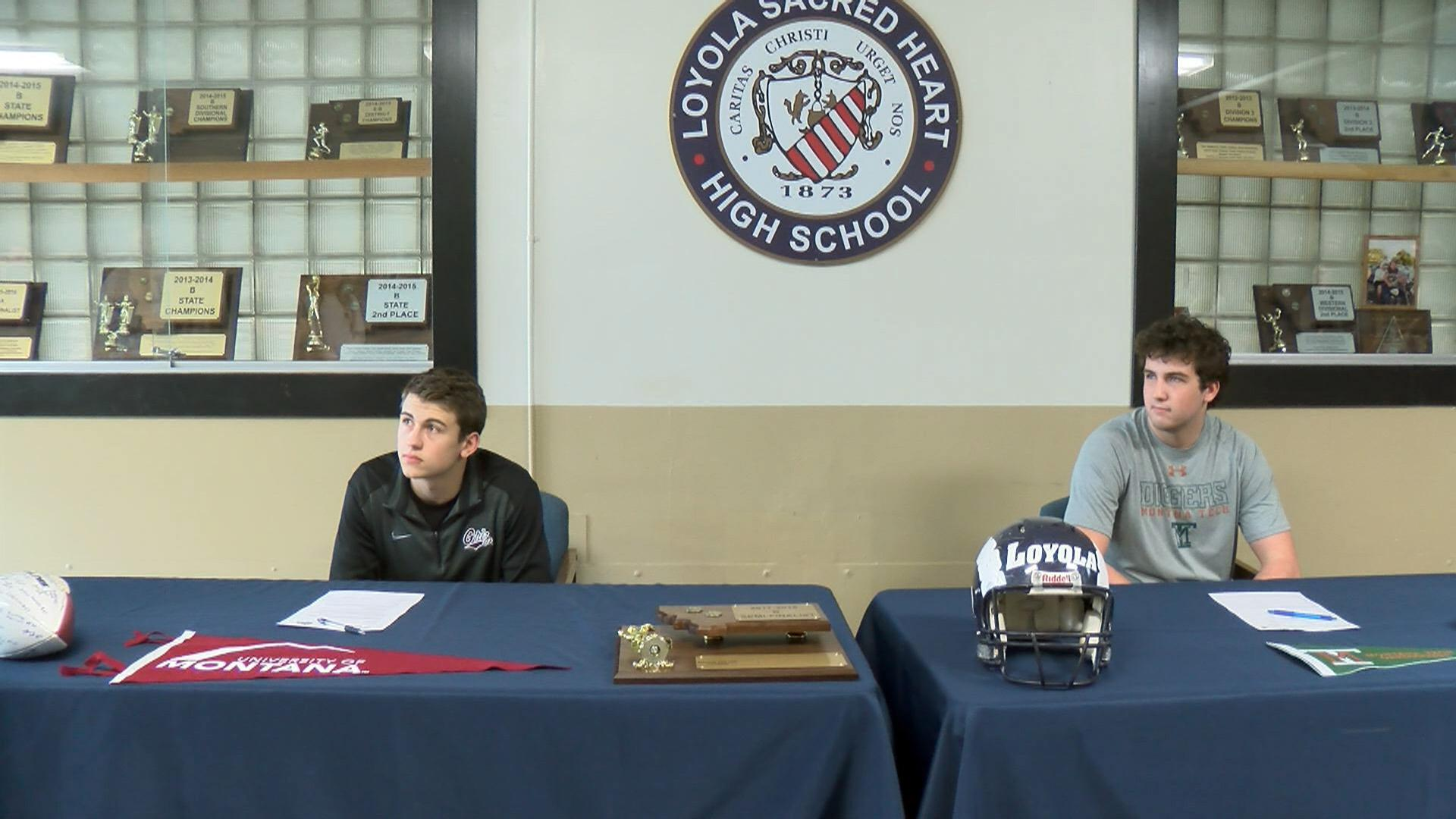 David Koppang and Braeden Beck look on as Loyola football head coach speaks about the two players signing their NLIs.<p></p>