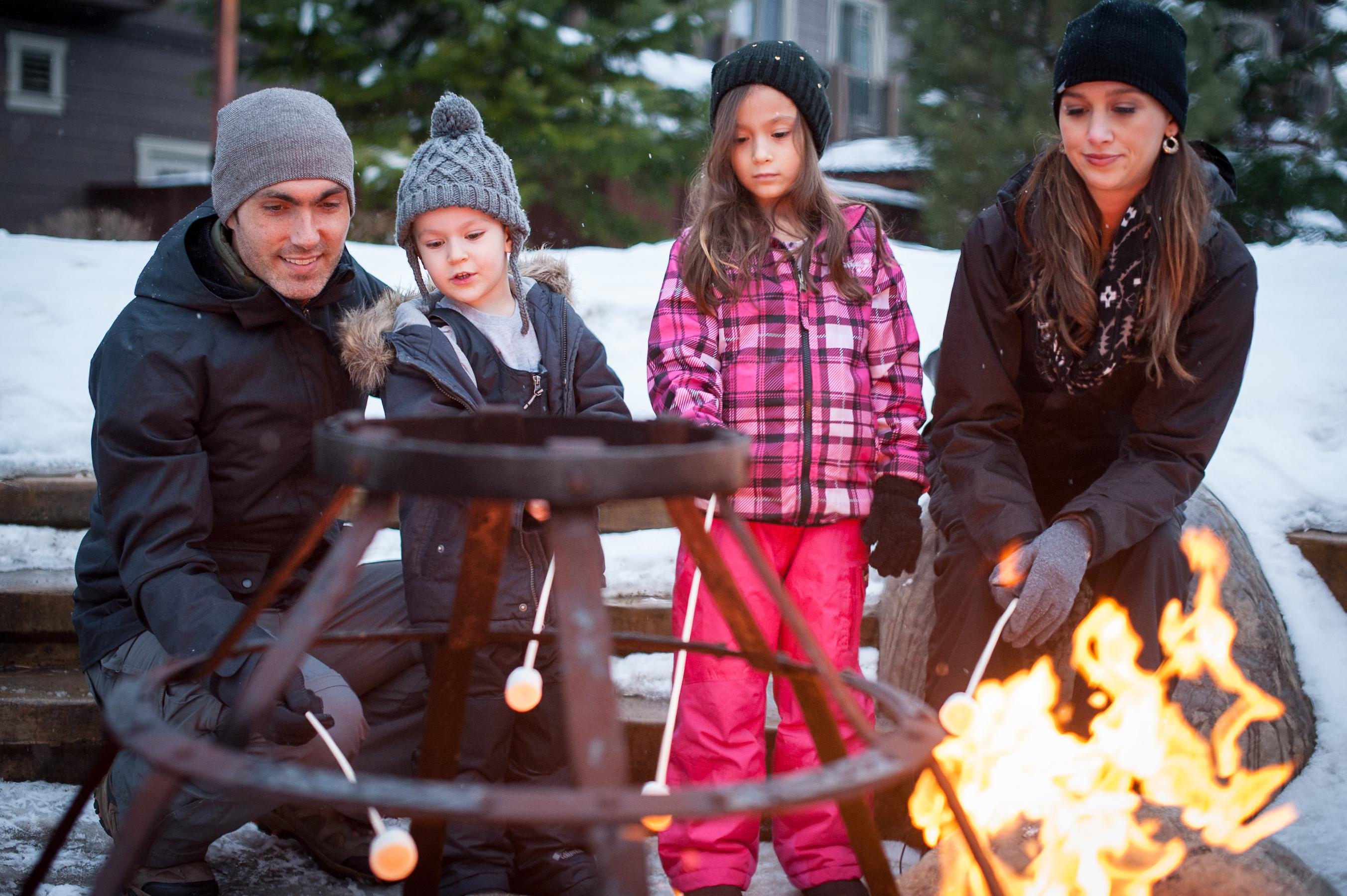 Gather around the fire pit at the Lodge at Suncadia to enjoy complimentary S'mores.
