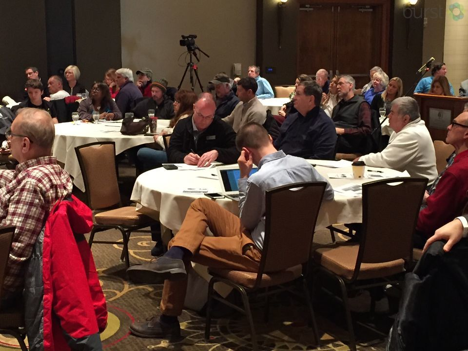 People who live and work in Bay City came together Monday to talk about the future of three crumbling Bay City bridges.  (Photo: WEYI/WSMH)