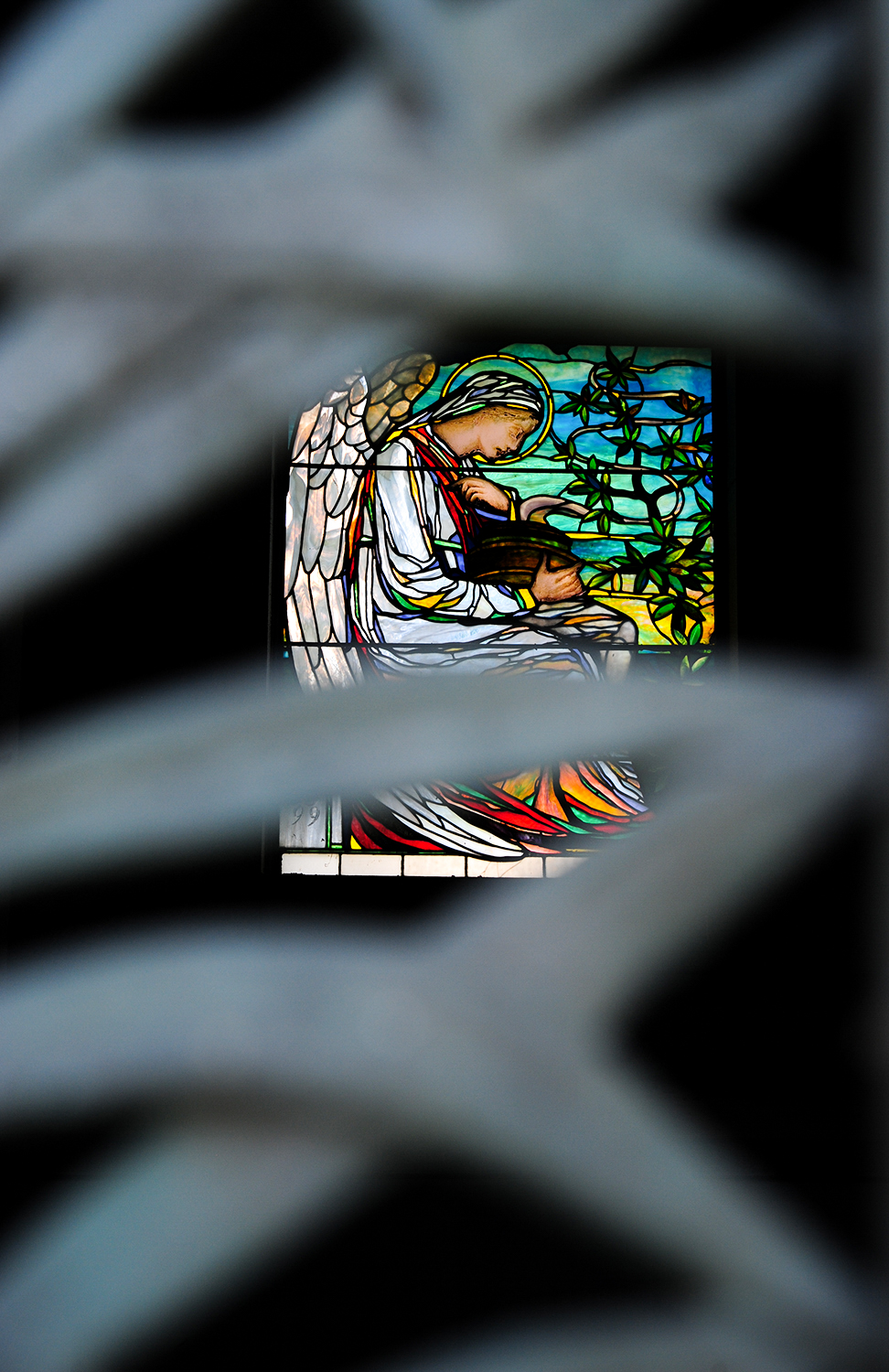 Stained glass inside of a mausoleum / Image: Melissa Doss Sliney
