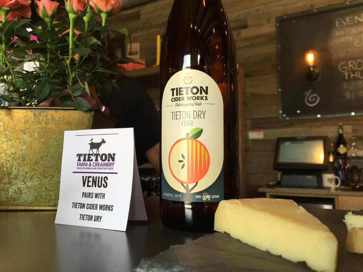 Inside Tieton Cider Works' tasting room with their Tieton Dry Cider and Tieton Farm & Creamery's Venus. (Image: Frank Guanco)