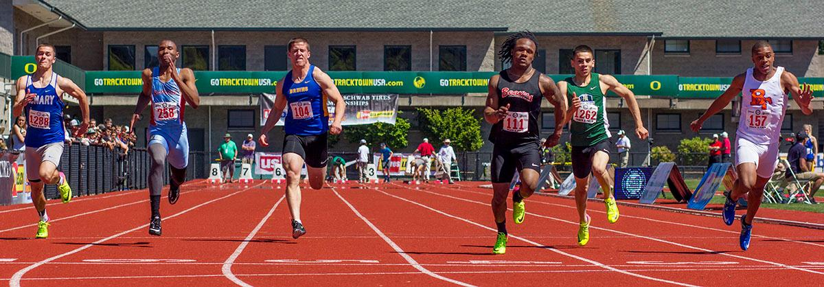 Anthony Albright of Beaverton High School wins the 6A Boys 100 Meter Dash with a time of 10.66 on Friday in the 2017 OSAA State Track and Field Championsips at Hayward Field. Photo by: Stephanie Cusano, Oregon News Lab