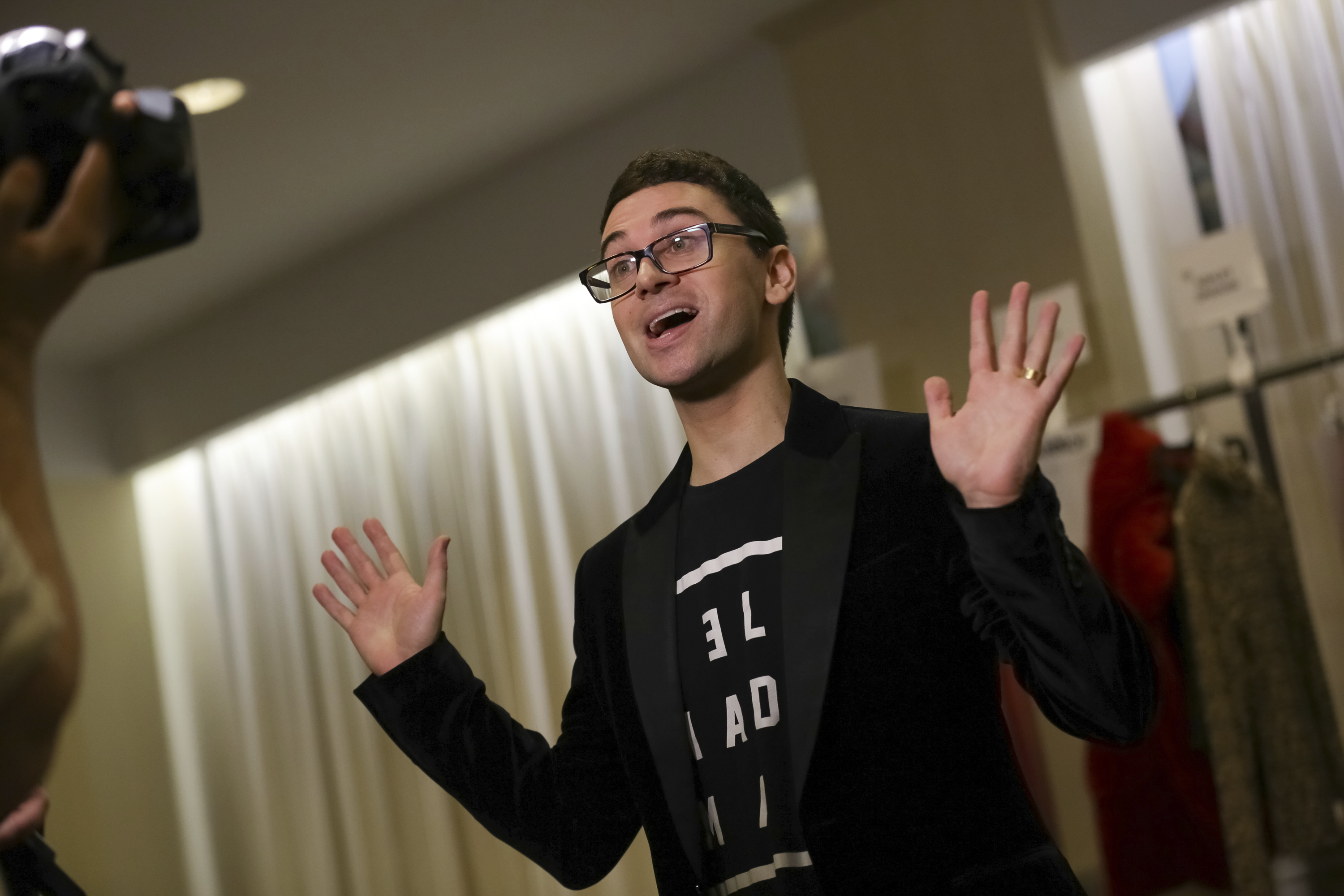 Designer Christian Siriano is seen backstage at the Christian Siriano 2018 Fall/Winter Runway Show during New York Fashion Week at the Grand Lodge on Saturday, Feb. 10, 2018 in New York. (Photo by Brent N. Clarke/Invision/AP)