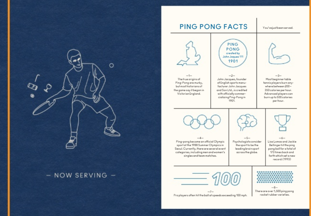 Just by opening the menu you are guaranteed to learn a little something about the history of ping pong. For example, did you know that psychologists consider ping pong to be the leading brain sport across the globe? (Images: Courtesy Spin Ping Pong)