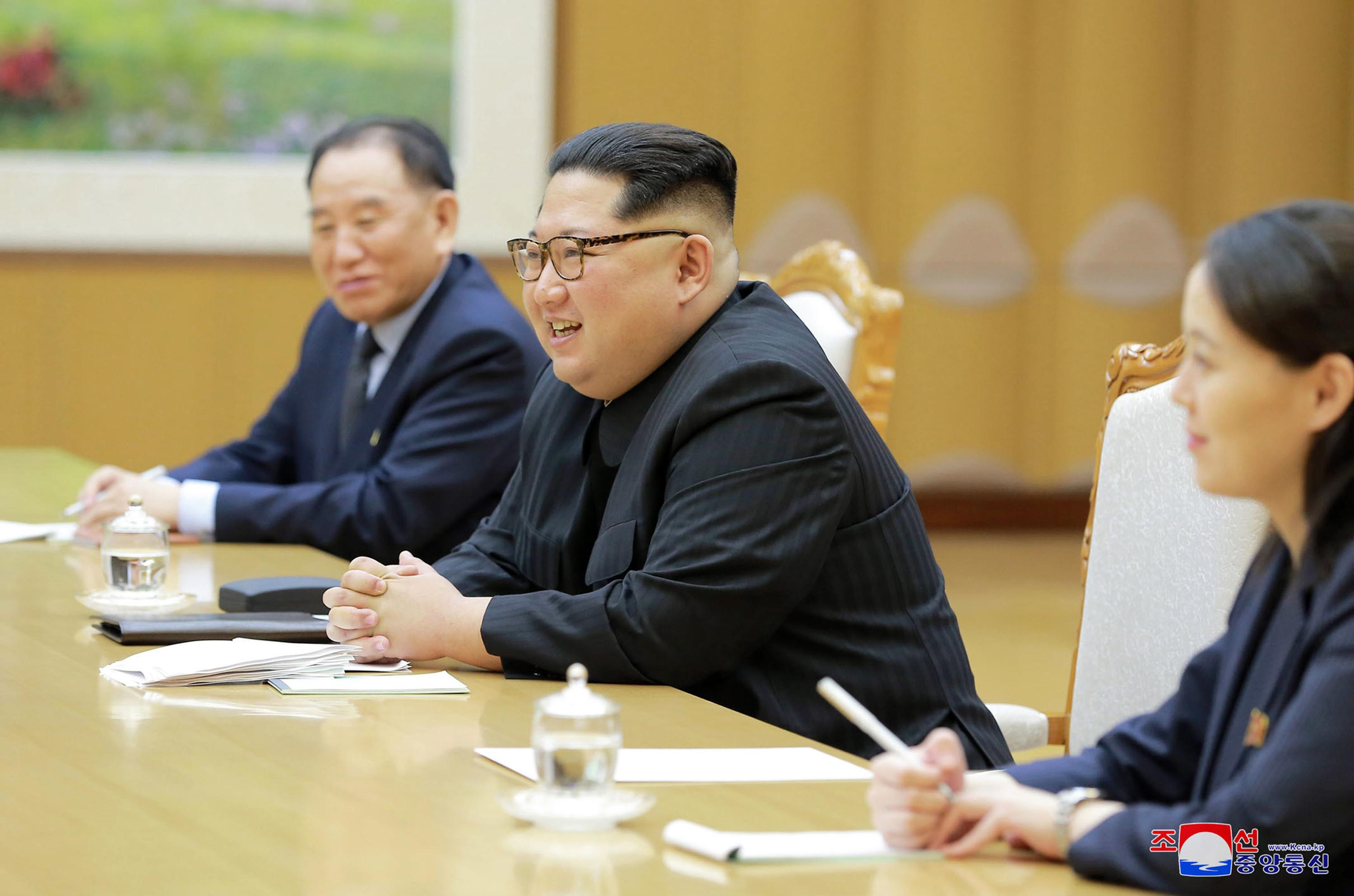 "In this Monday, March 5, 2018 photo, provided by the North Korean government on March 6, North Korean leader Kim Jong Un, center, his sister Kim Yo Jong, and Vice Chairman of North Korea's ruling Workers' Party Central Committee Kim Yong Chol meet members of South Korean delegation headed by National Security Director Chung Eui-yong in Pyongyang, North Korea. Independent journalists were not given access to cover the event depicted in this image distributed by the North Korean government. The content of this image is as provided and cannot be independently verified. Korean language watermark on image as provided by source reads: ""KCNA"" which is the abbreviation for Korean Central News Agency. (Korean Central News Agency/Korea News Service via AP)"
