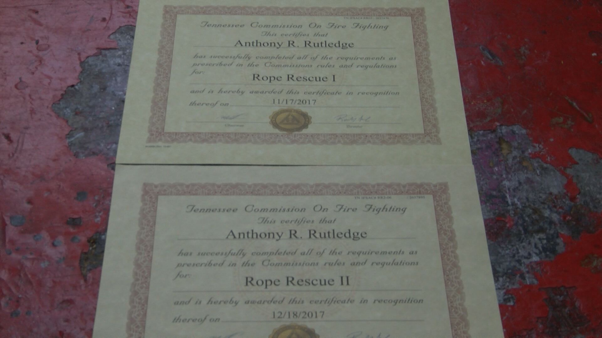 Firefighter Anthony Rutledge's Rope Rescue 1 and 2 certifications. Each member of the team earned their certifications after taking a physical skills test and two written tests. (Thomas Gray/WCYB)
